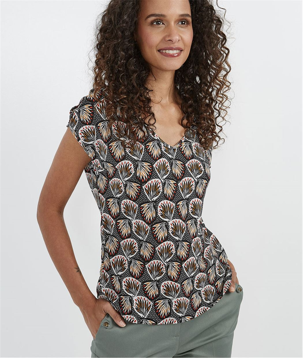 T-shirt femme imprimé boubou NOIR