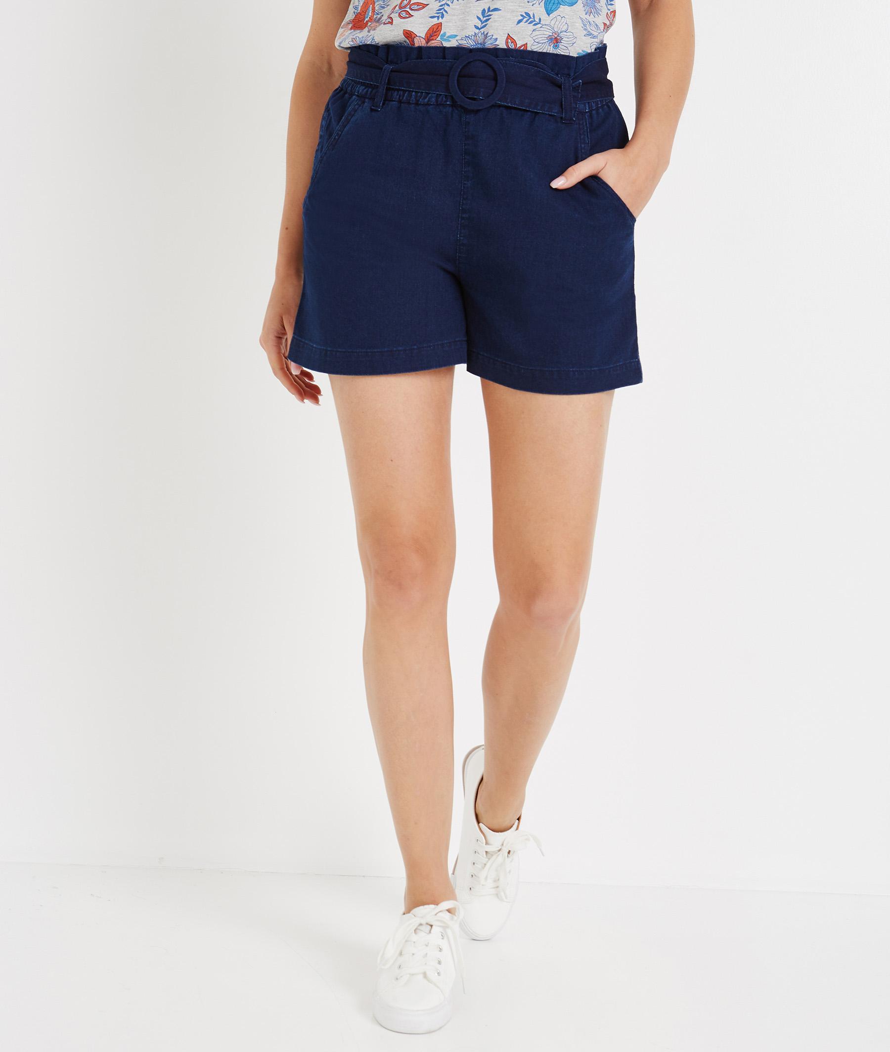 Short paperbag en jean avec ceinture BLEU