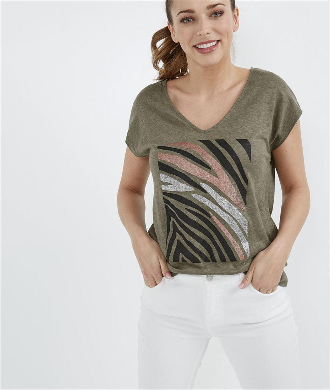 T-shirt femme imprimé zèbre KAKI
