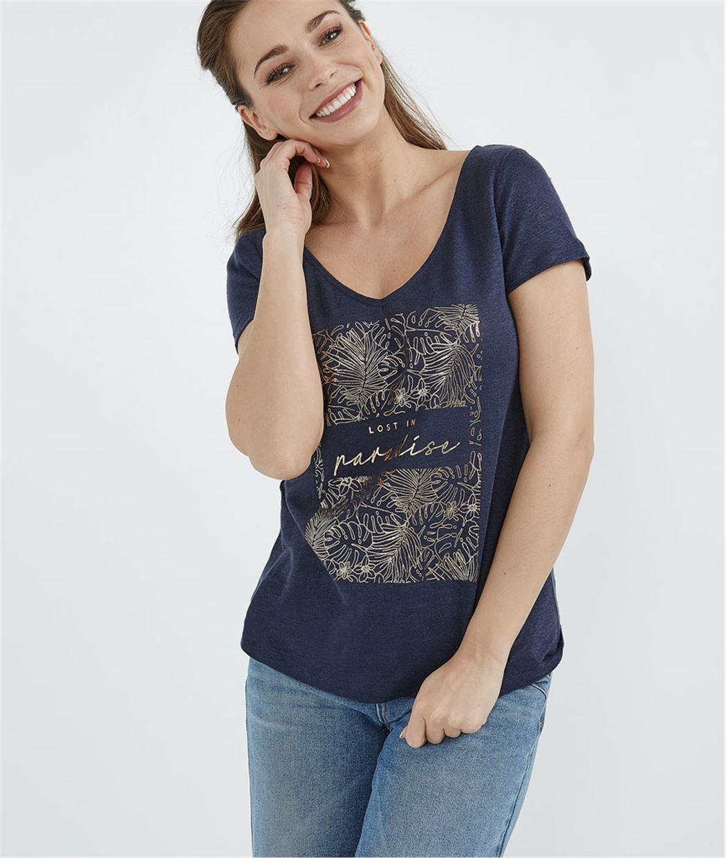 T-shirt 100% lin imprimé tropical MARINE