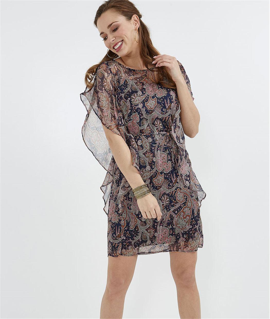 Robe femme imprimée avec volants MARINE