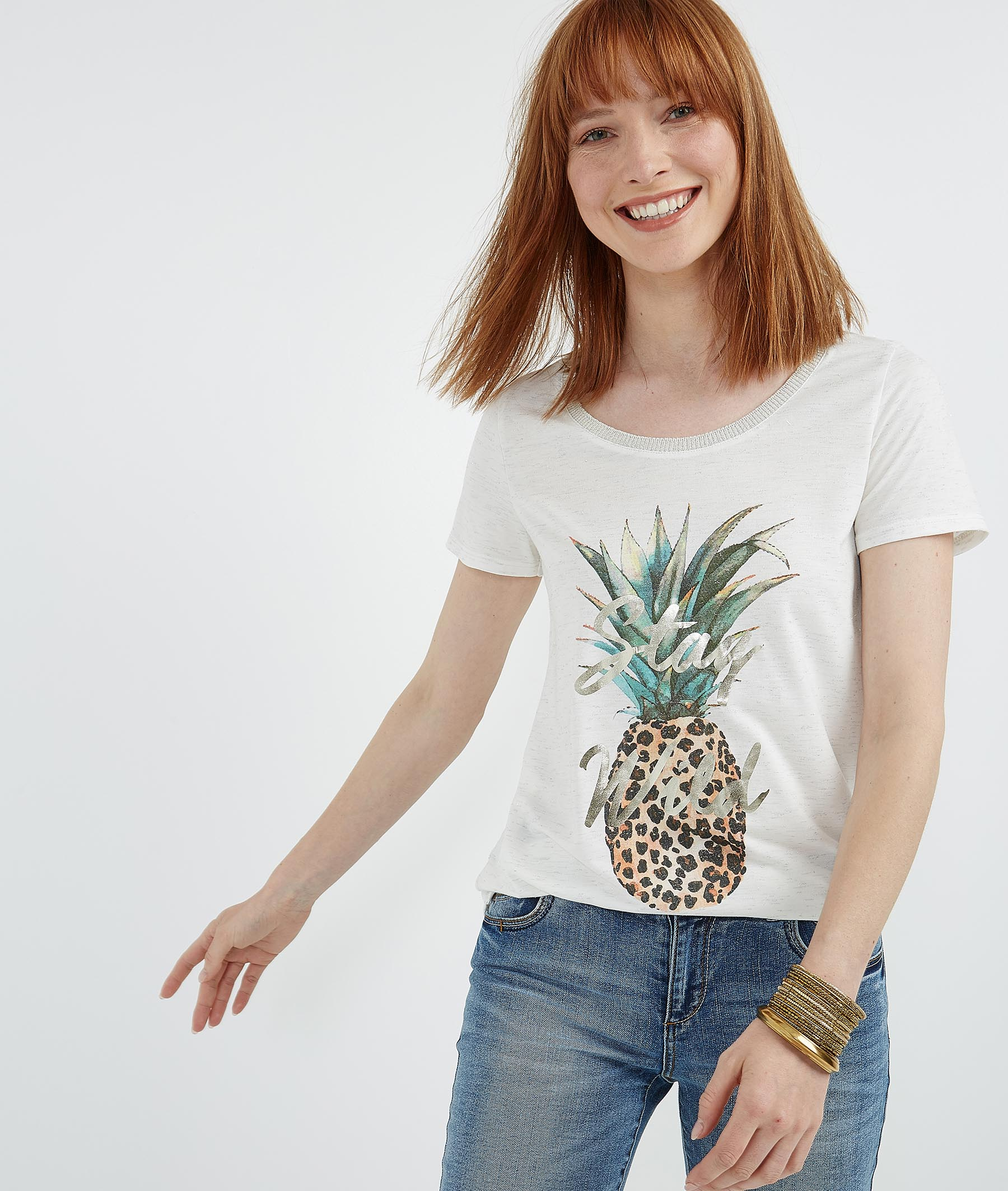 T-shirt imprimé ananas et panthère BLANC