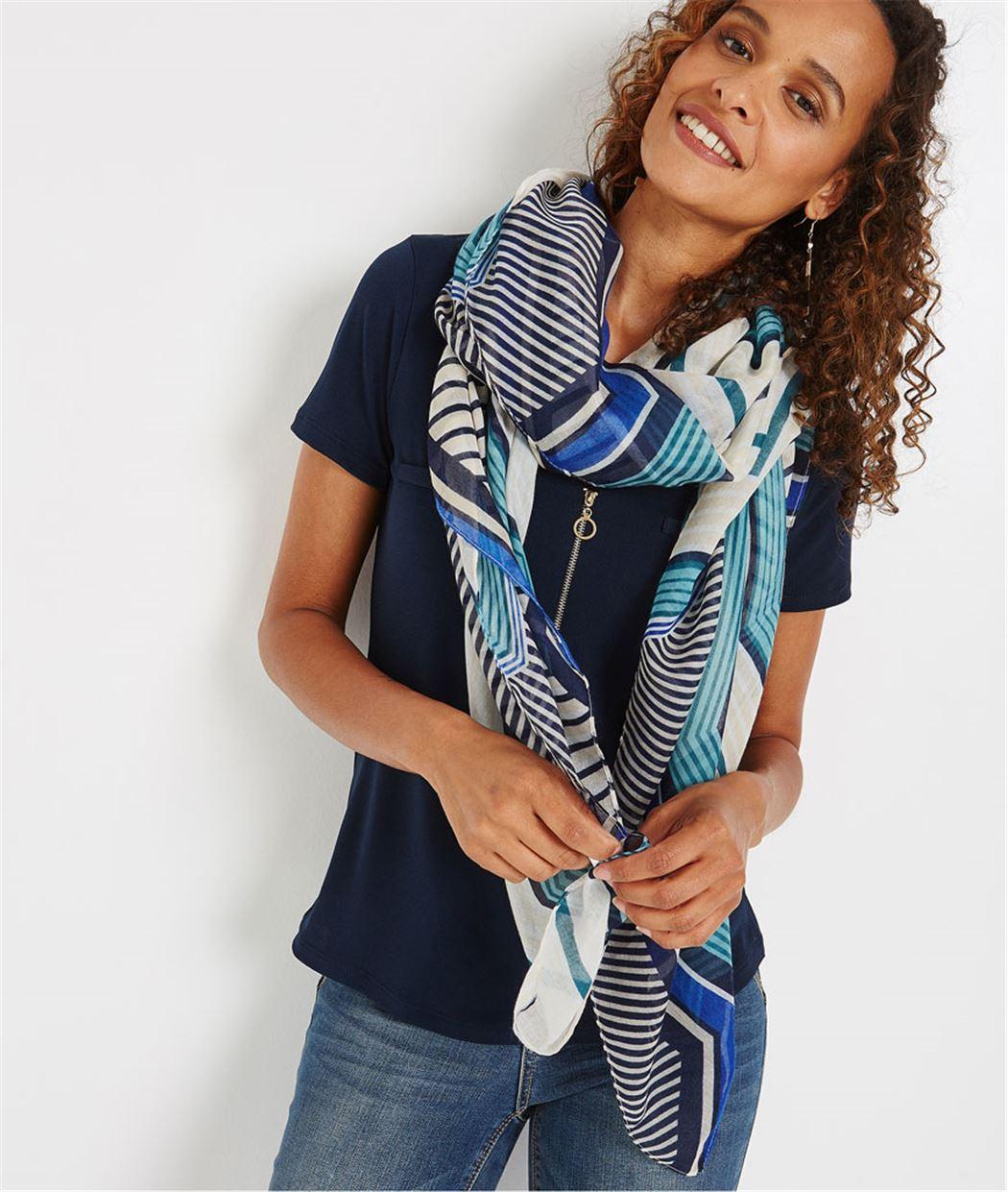 Foulard rayé bleu et blanc BLEU