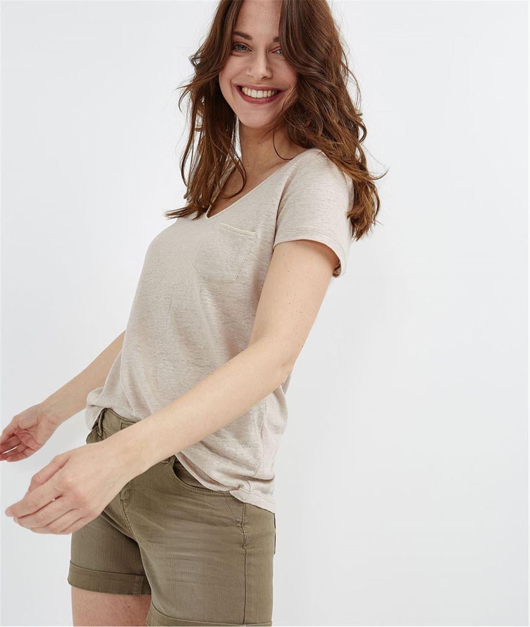 T-shirt basique 100% lin BEIGE