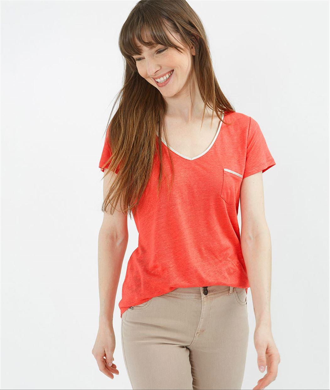 T-shirt femme basique 100% lin ROUGE