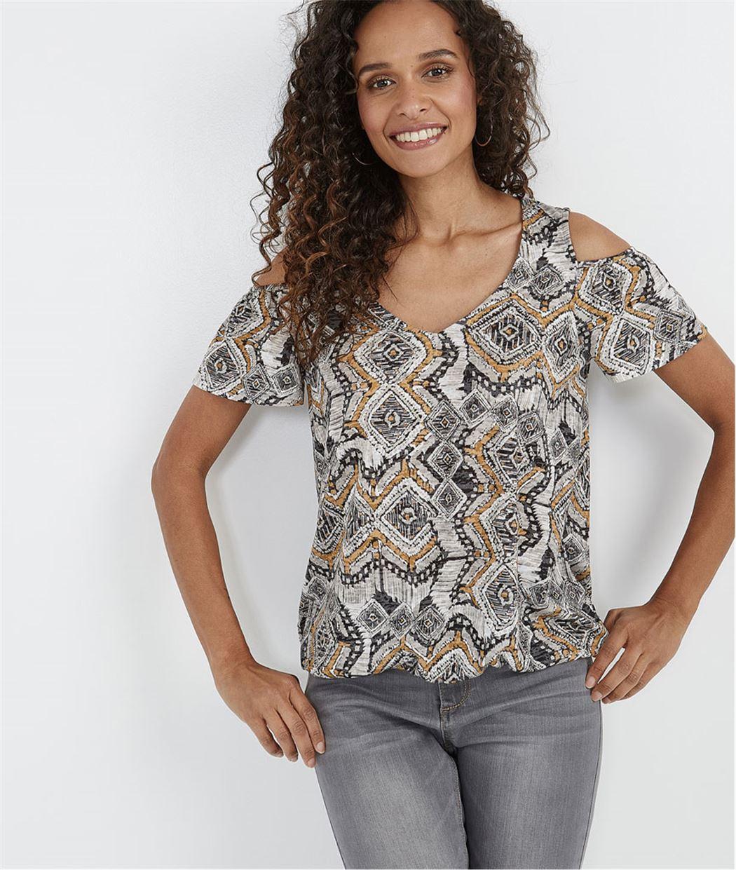 T-shirt femme imprimé base élastiquée CHOCOLAT