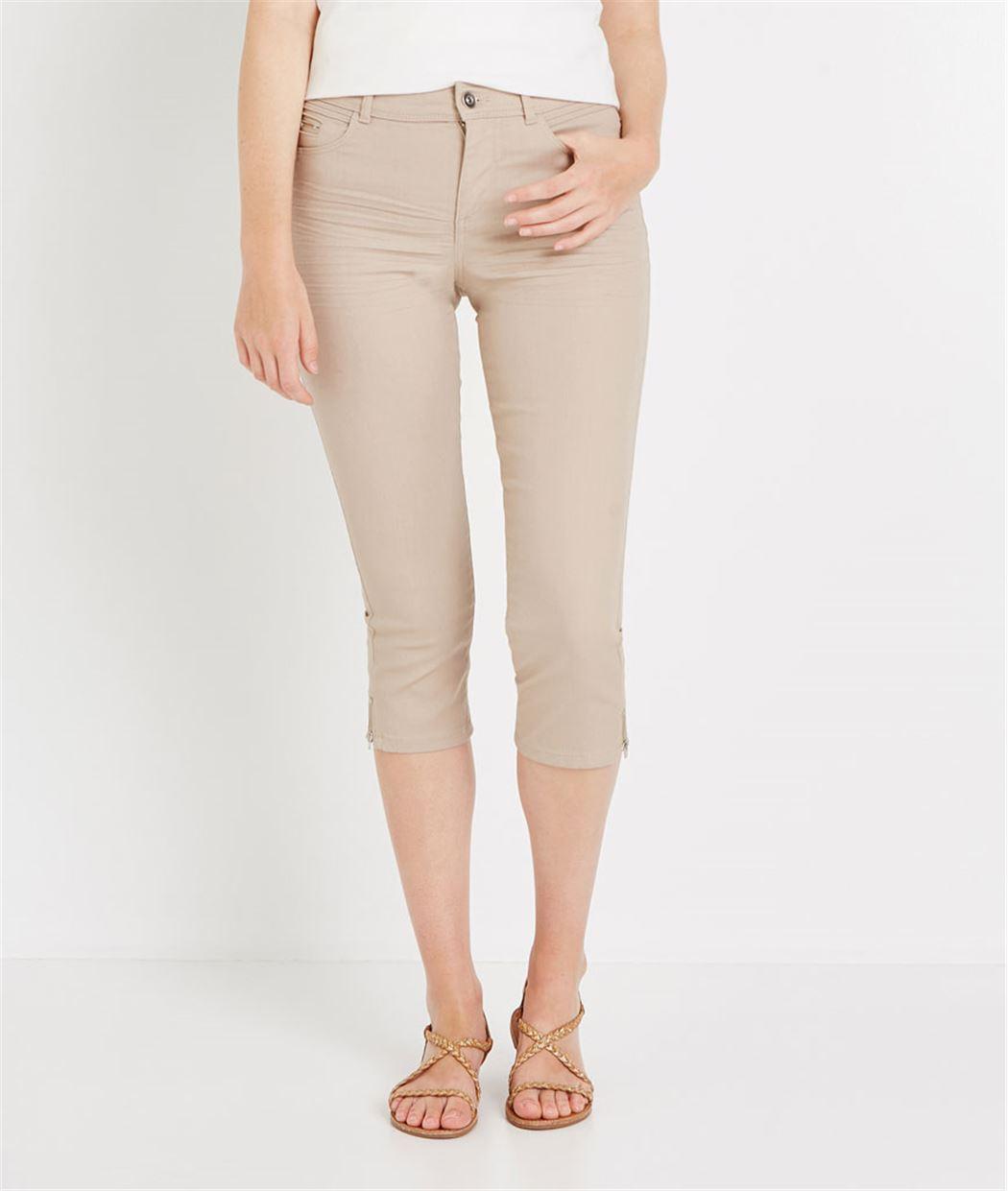 Corsaire en jean de couleur BEIGE