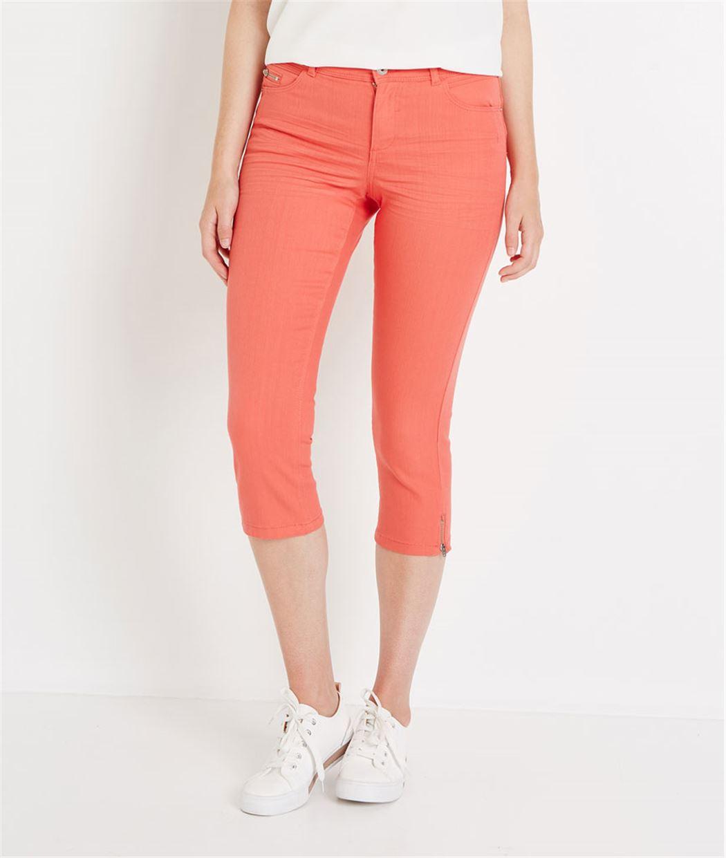 Corsaire en jean de couleur MELON