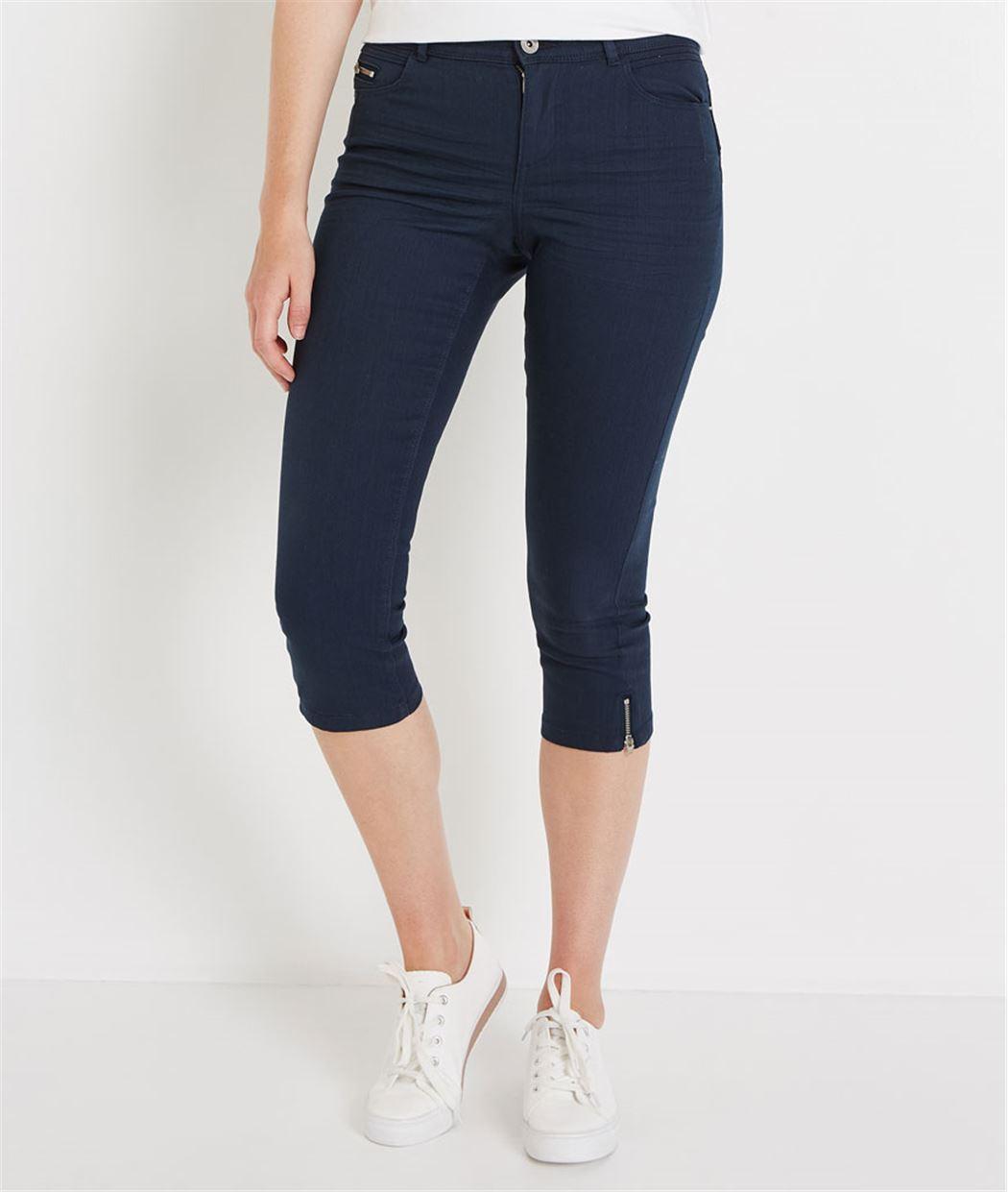 Corsaire en jean de couleur MARINE