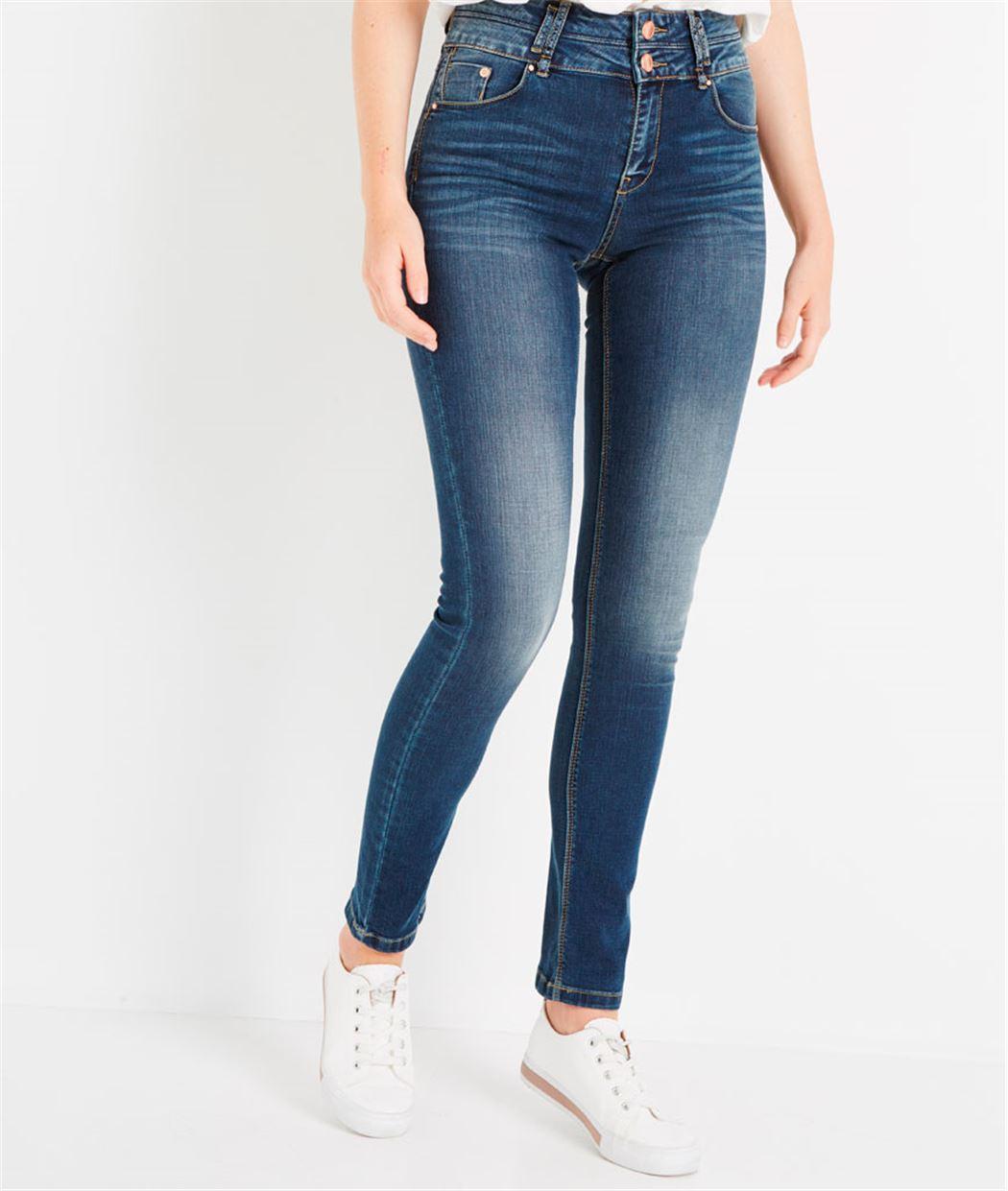 Jean slim taille haute DARK STONE