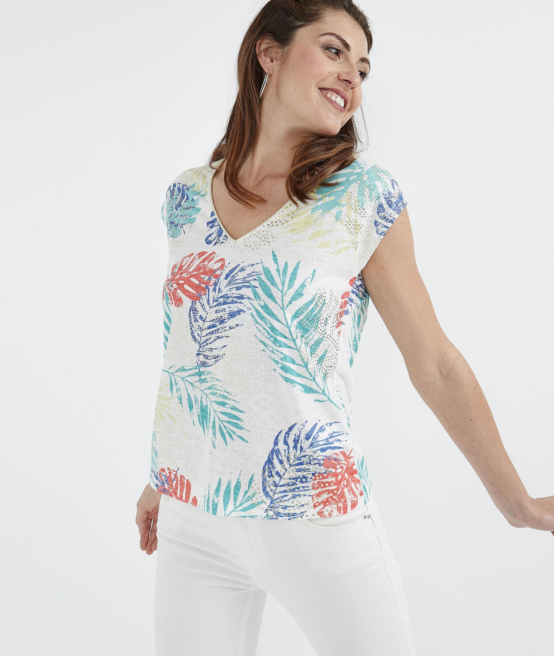 T-shirt femme blanc imprimé feuillages BLANC