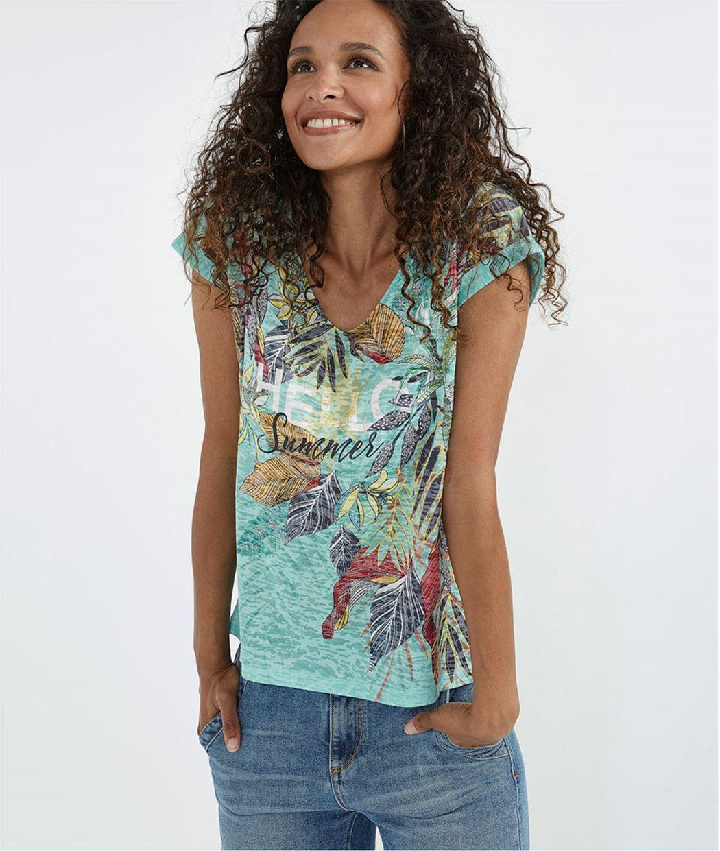 T-shirt turquoise imprimé feuillages TURQUOISE