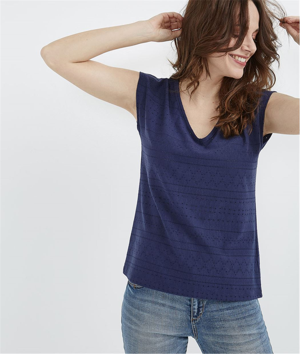 T-shirt ajouré avec noeud dans le dos BLEU