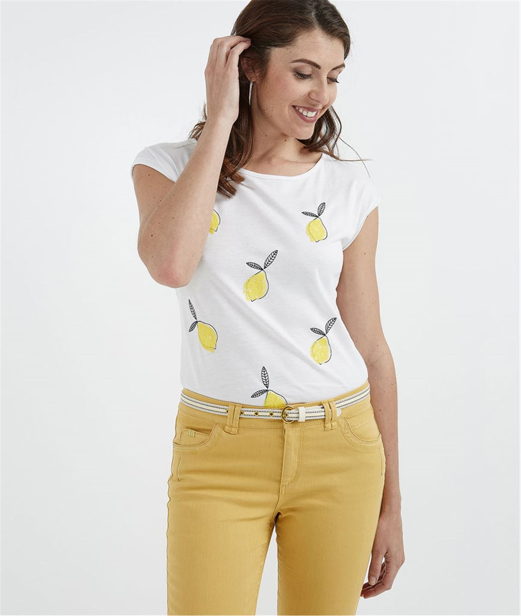 T-shirt citrons brodés avec noeud BLANC