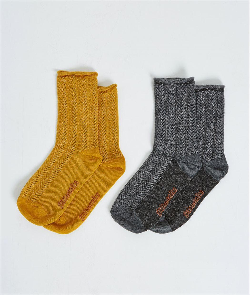Lot de 2 paires de chausettes JAUNE