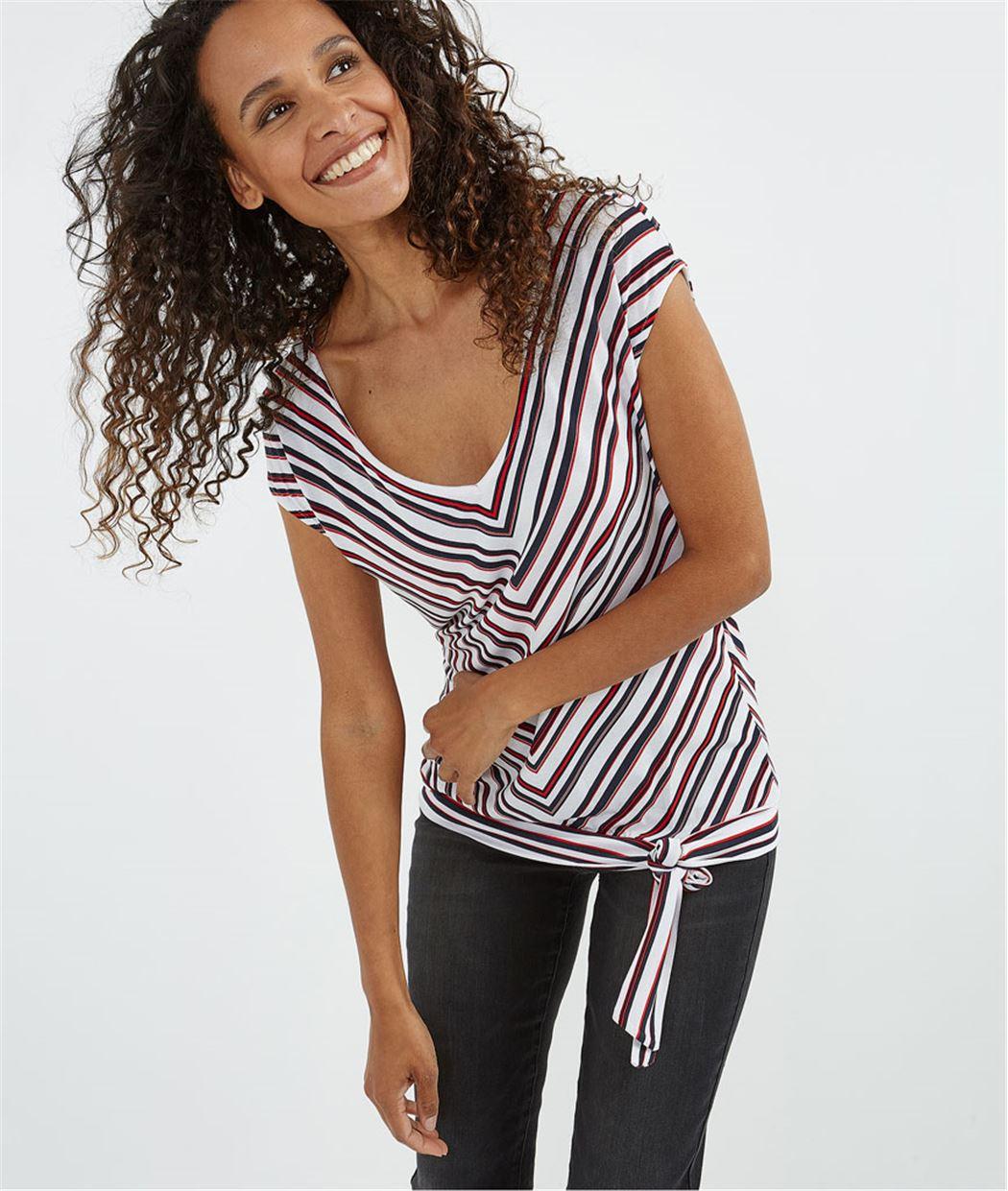 T-shirt rayures chevrons BLANC