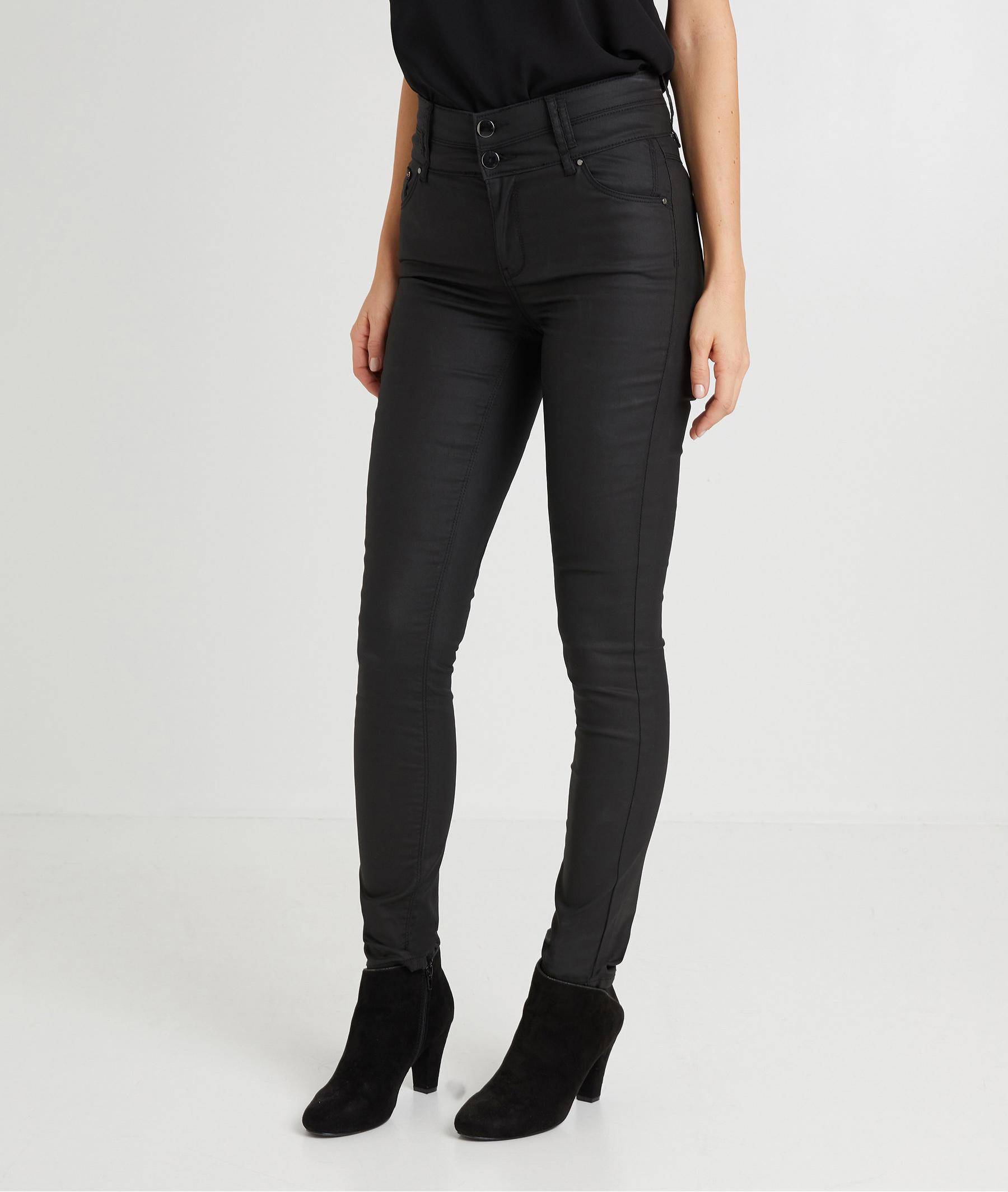 Pantalon slim taille haute enduit femme NOIR