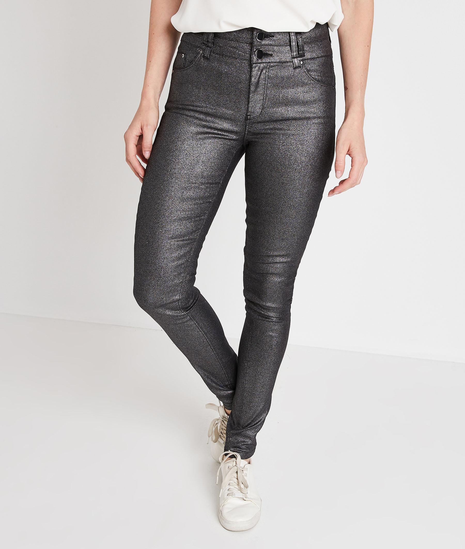 Pantalon slim taille haute enduit femme GRIS