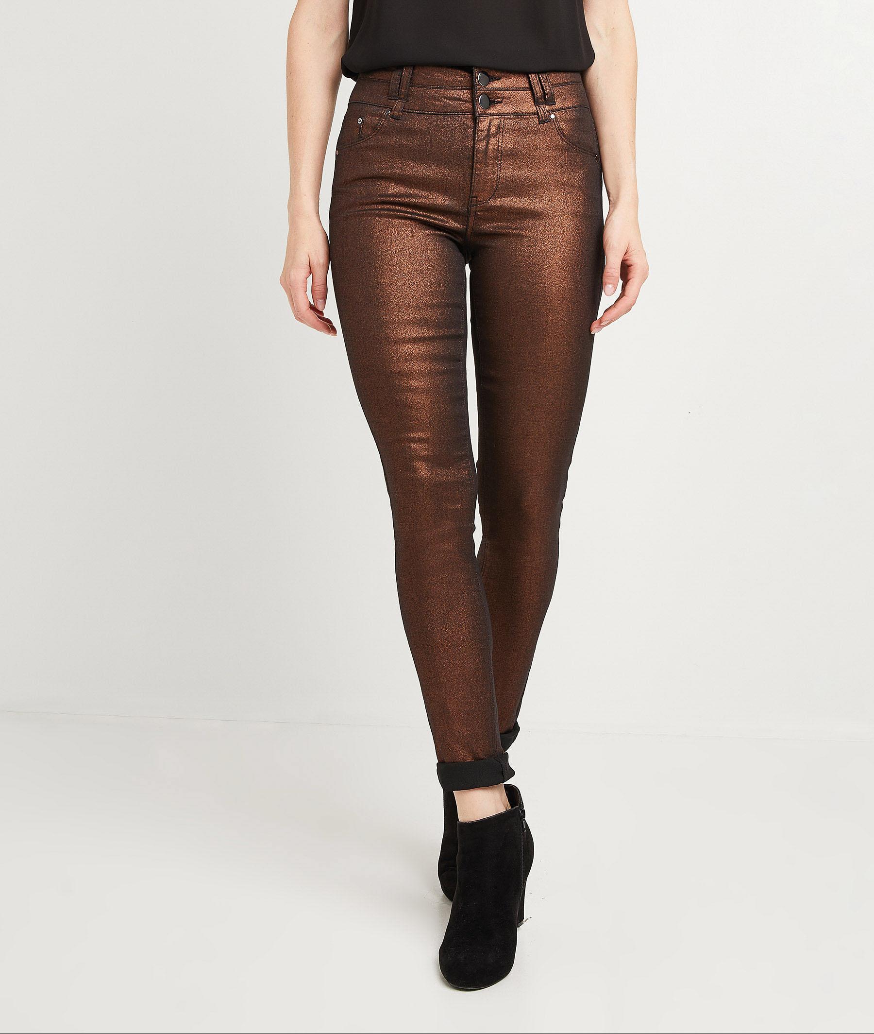 Pantalon slim taille haute enduit femme CARAMEL