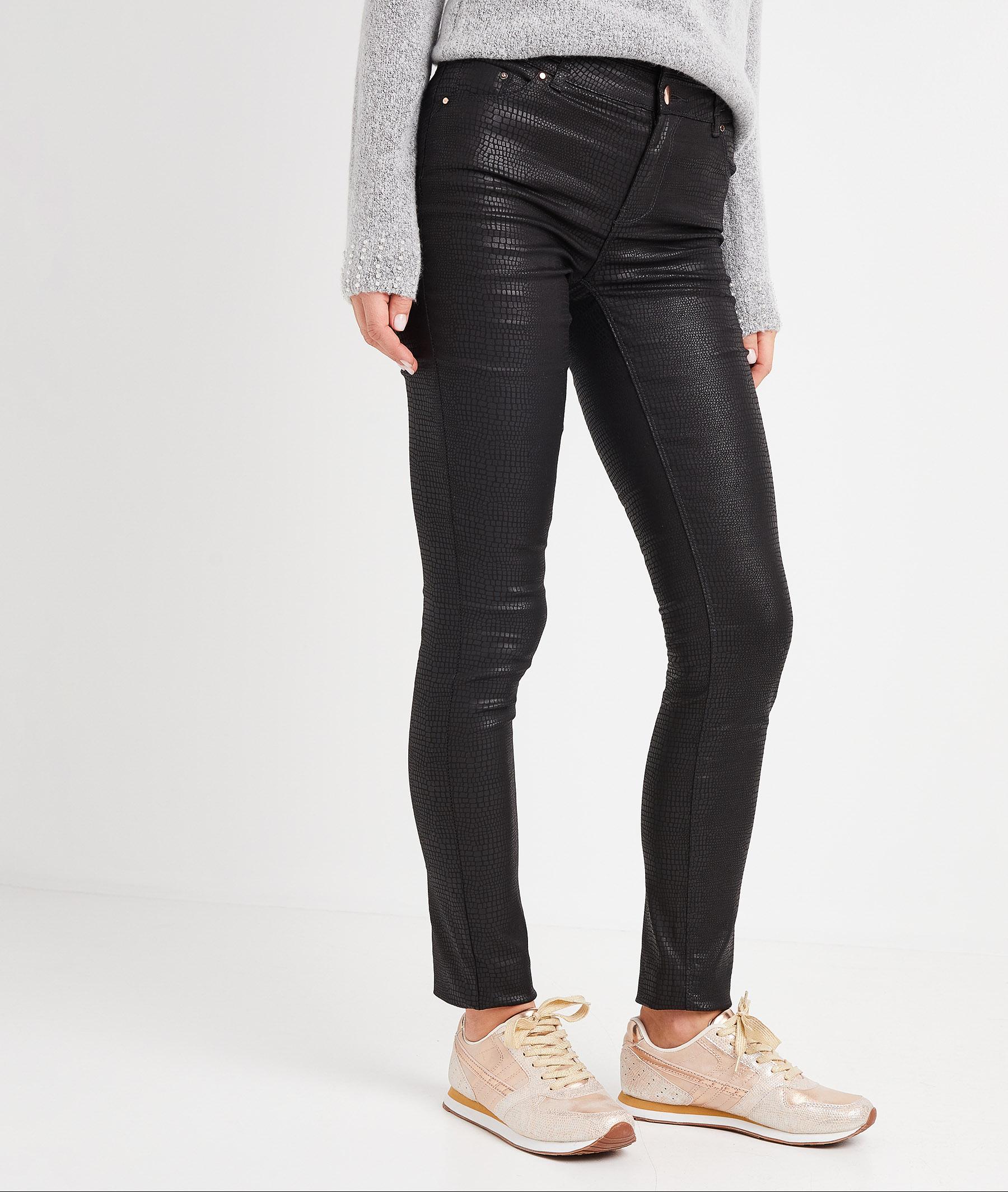 Pantalon slim taille haute enduit femme MULTICOLORE