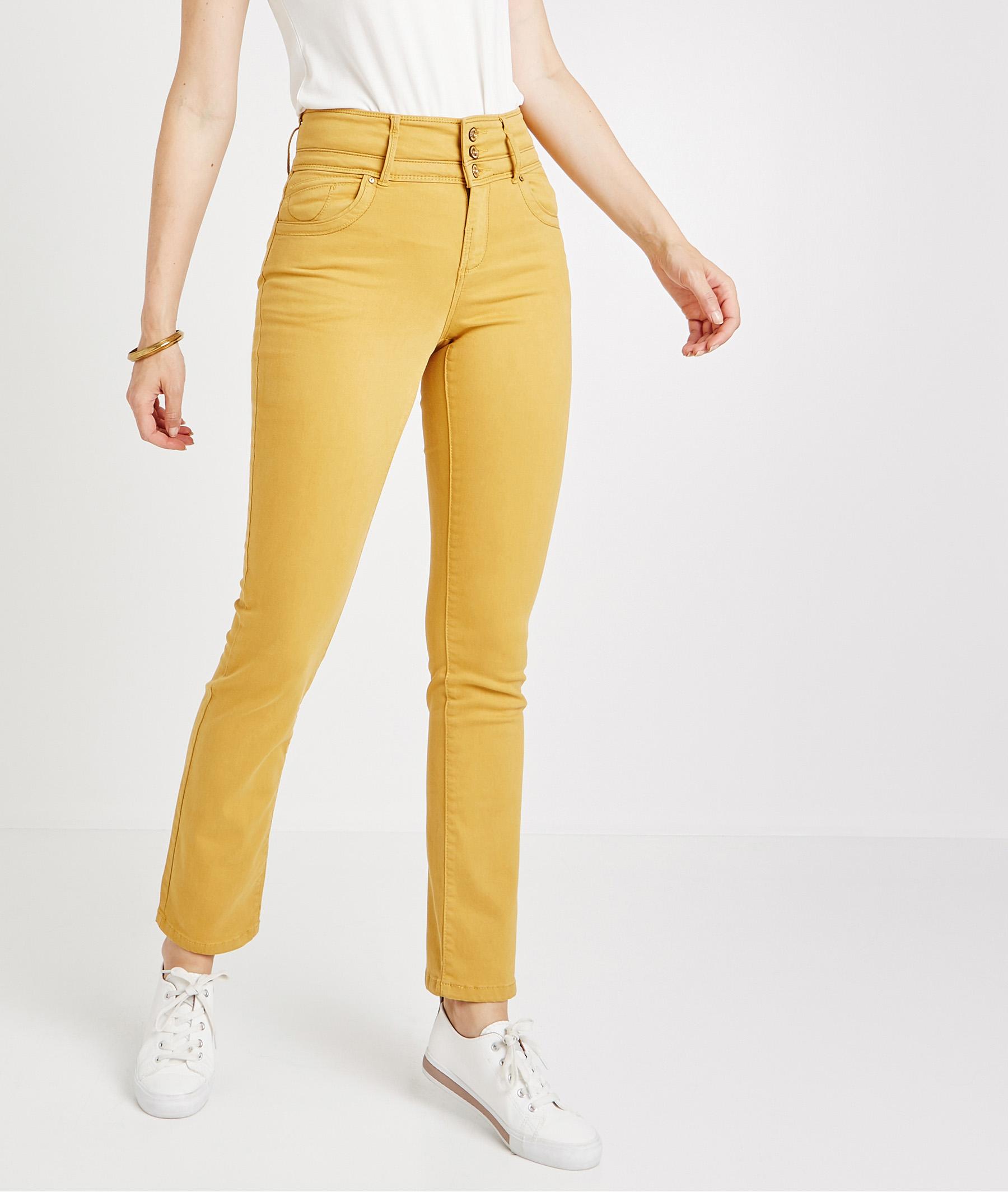 Pantalon droit taille haute de couleur AMBRE