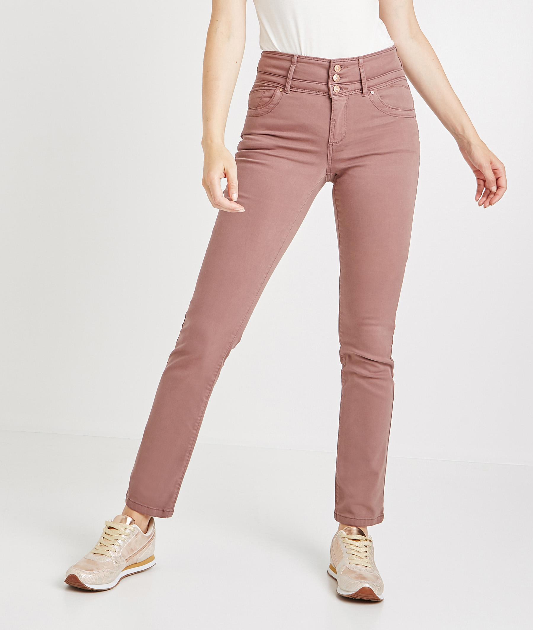 Pantalon droit taille haute de couleur RAISIN