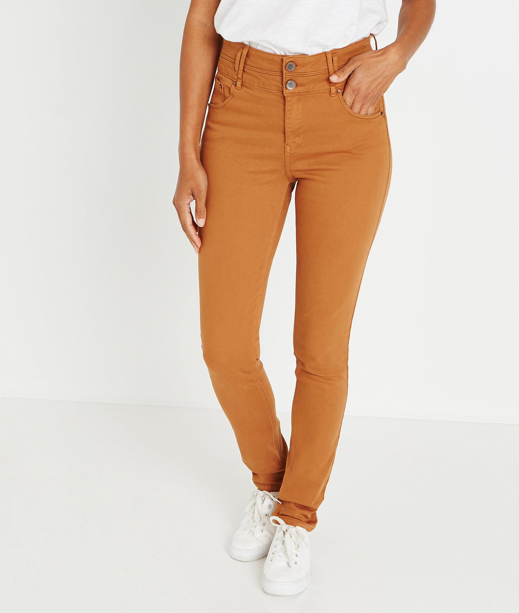 Slim taille haute uni de couleur ECUREUIL
