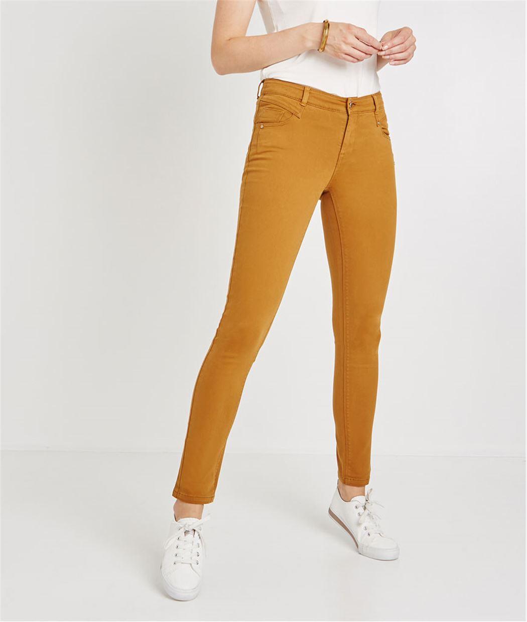 Pantalon slim push up de couleur CURRY