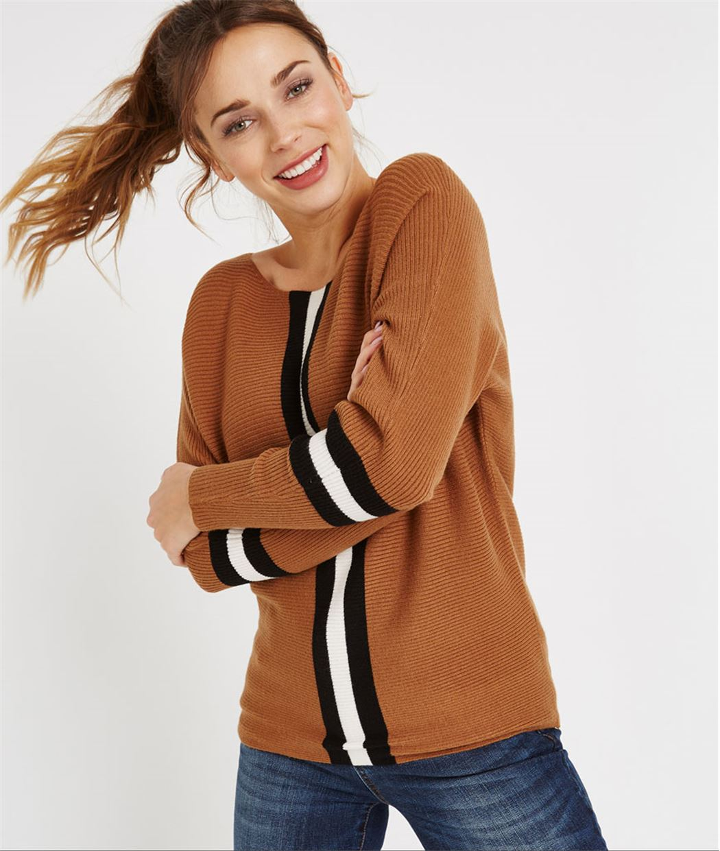 Pull maille avec rayures sports CARAMEL