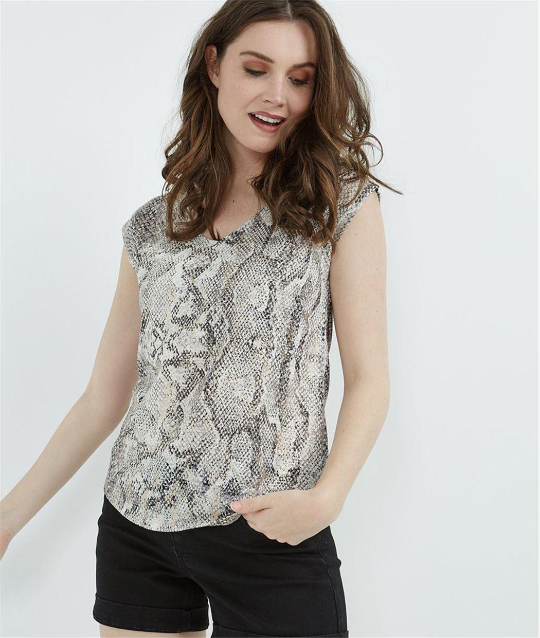 T-shirt femme imprimé python BEIGE