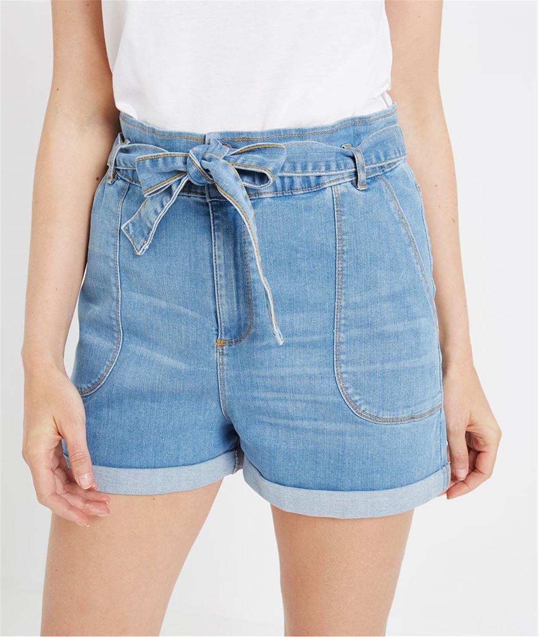 Short en jean avec ceinture à nouer STONE