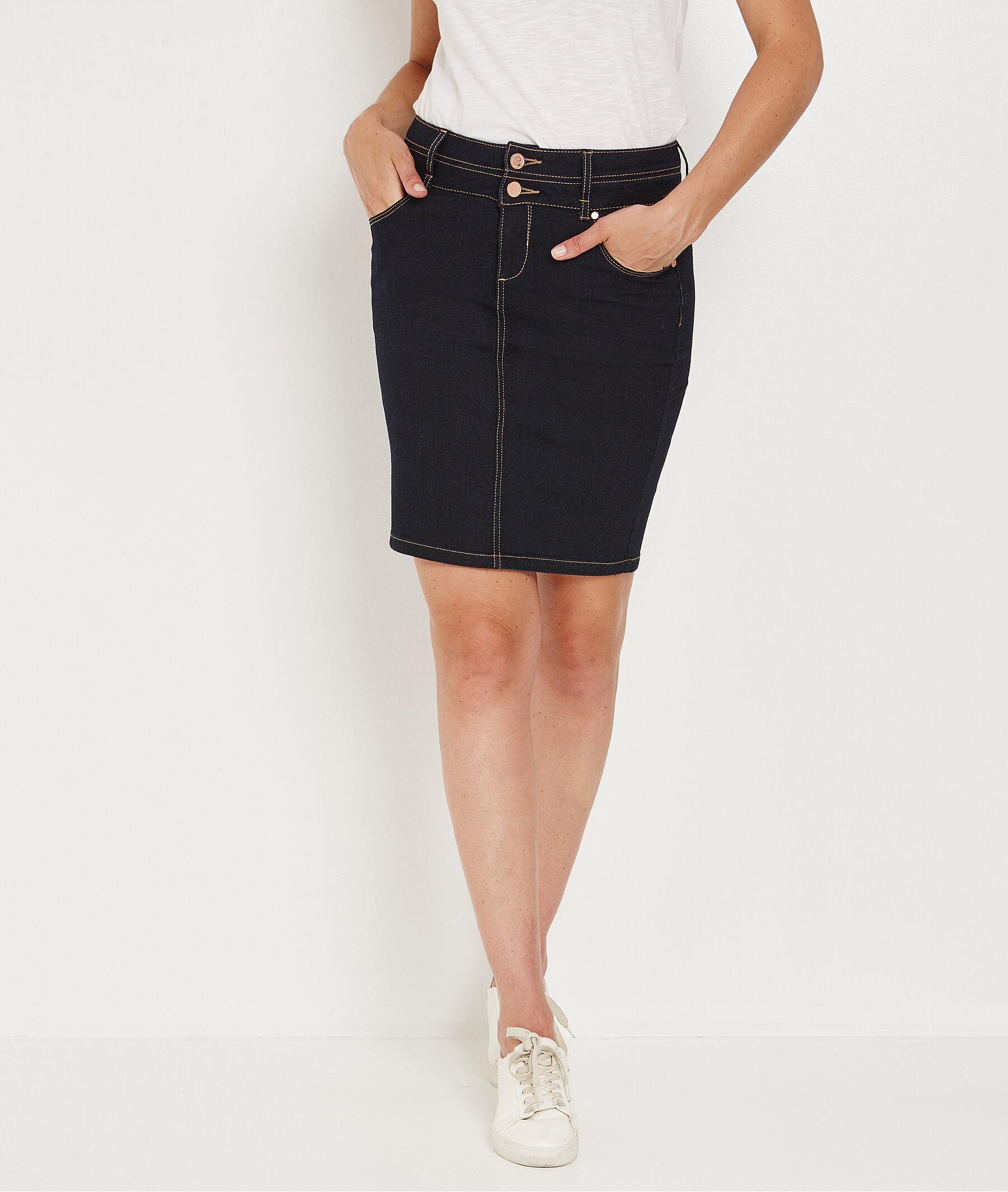 Jupe en jean taille haute BLUE BLACK
