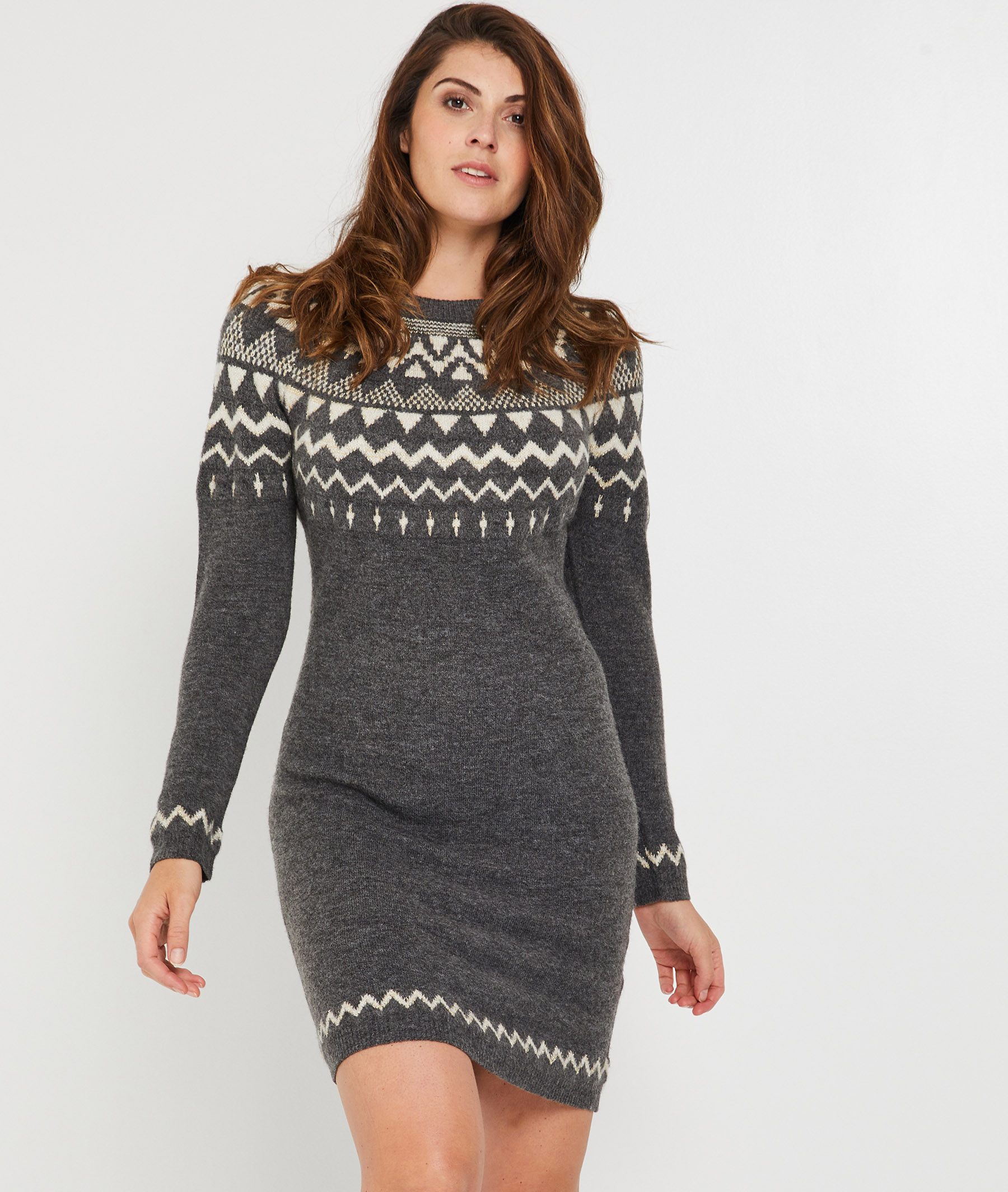 Robe pull grise femme GRIS