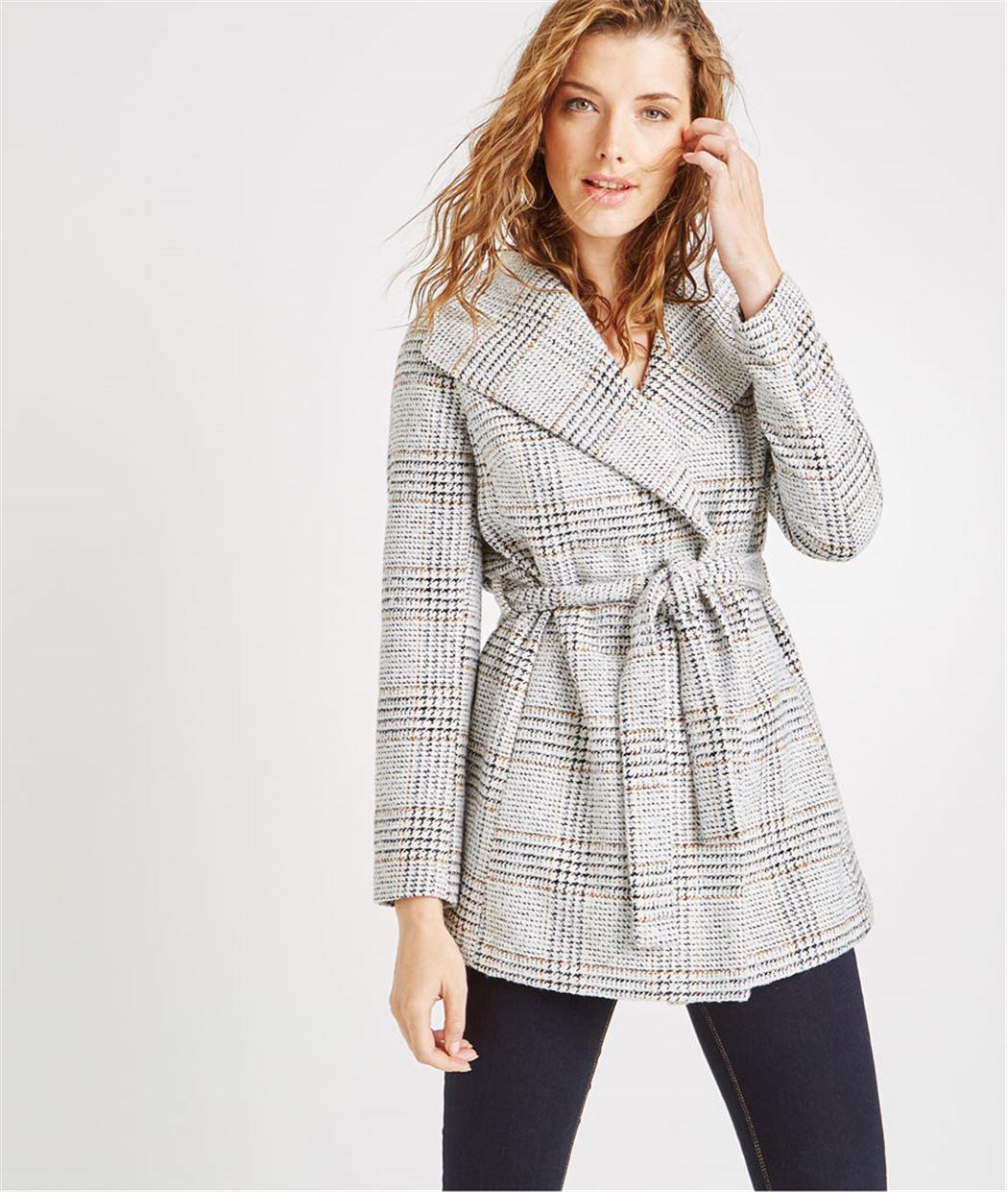 Manteau de mi-saison à carreaux ECRU