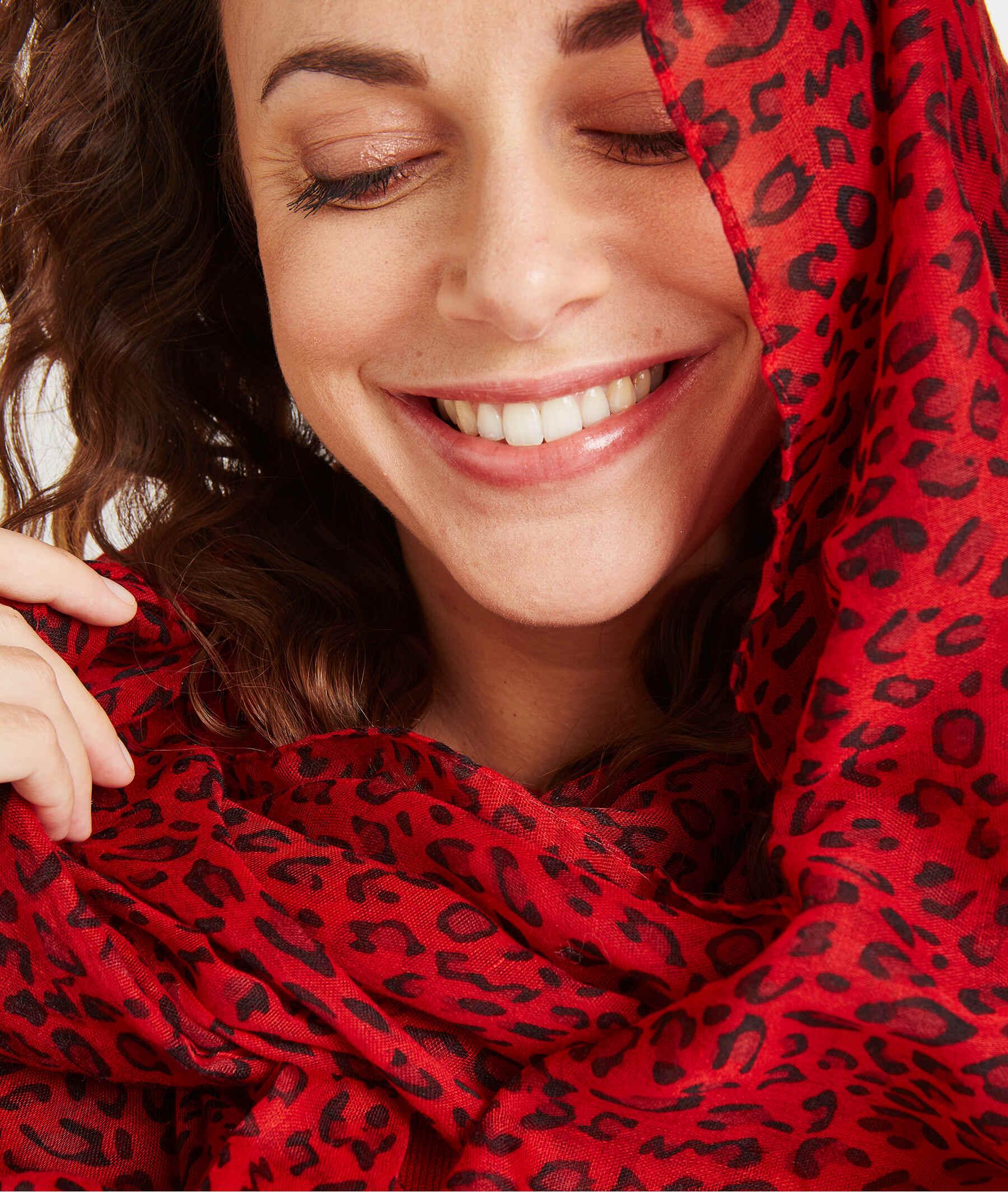 Foulard imprimé léopard rouge ROUGE
