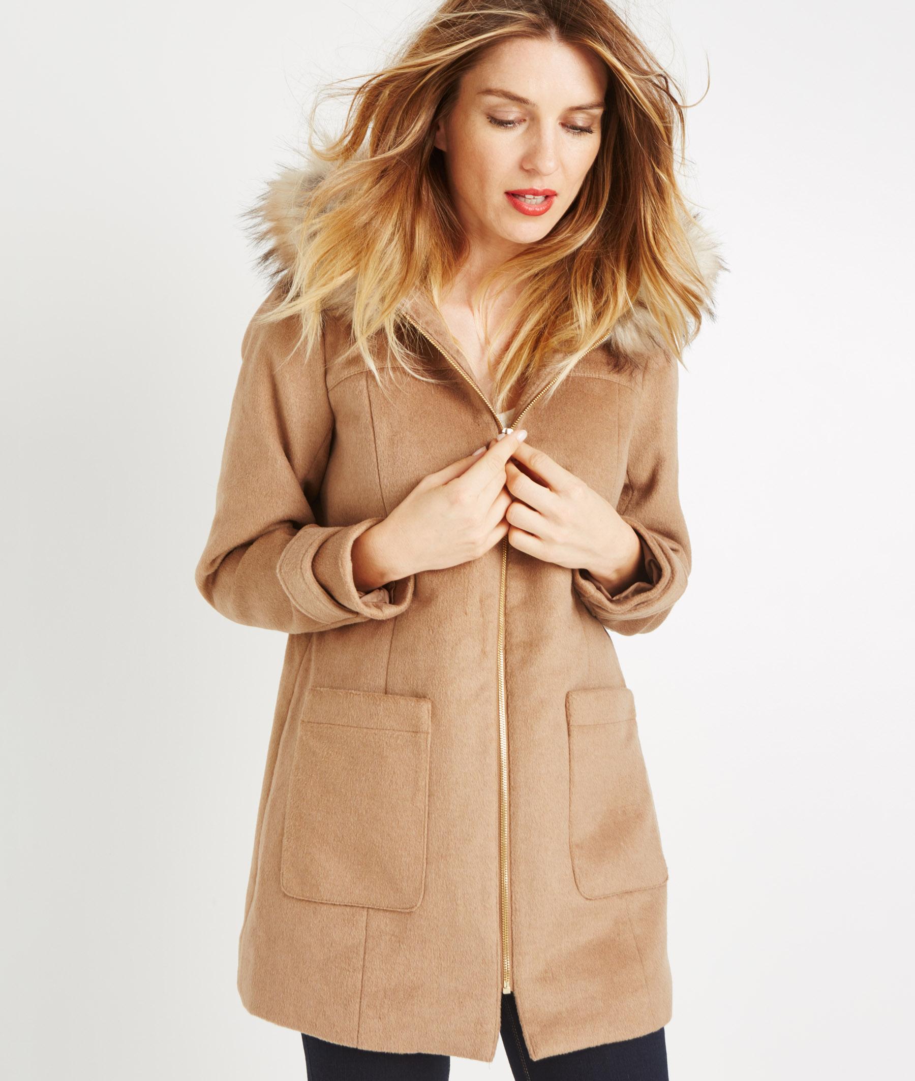 Manteau à capuche imitation fourrure CARAMEL