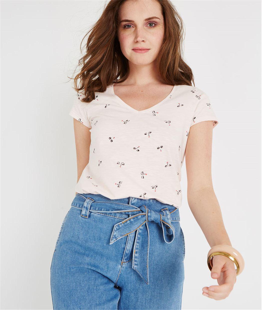 T-shirt basique col V imprimé ROSE