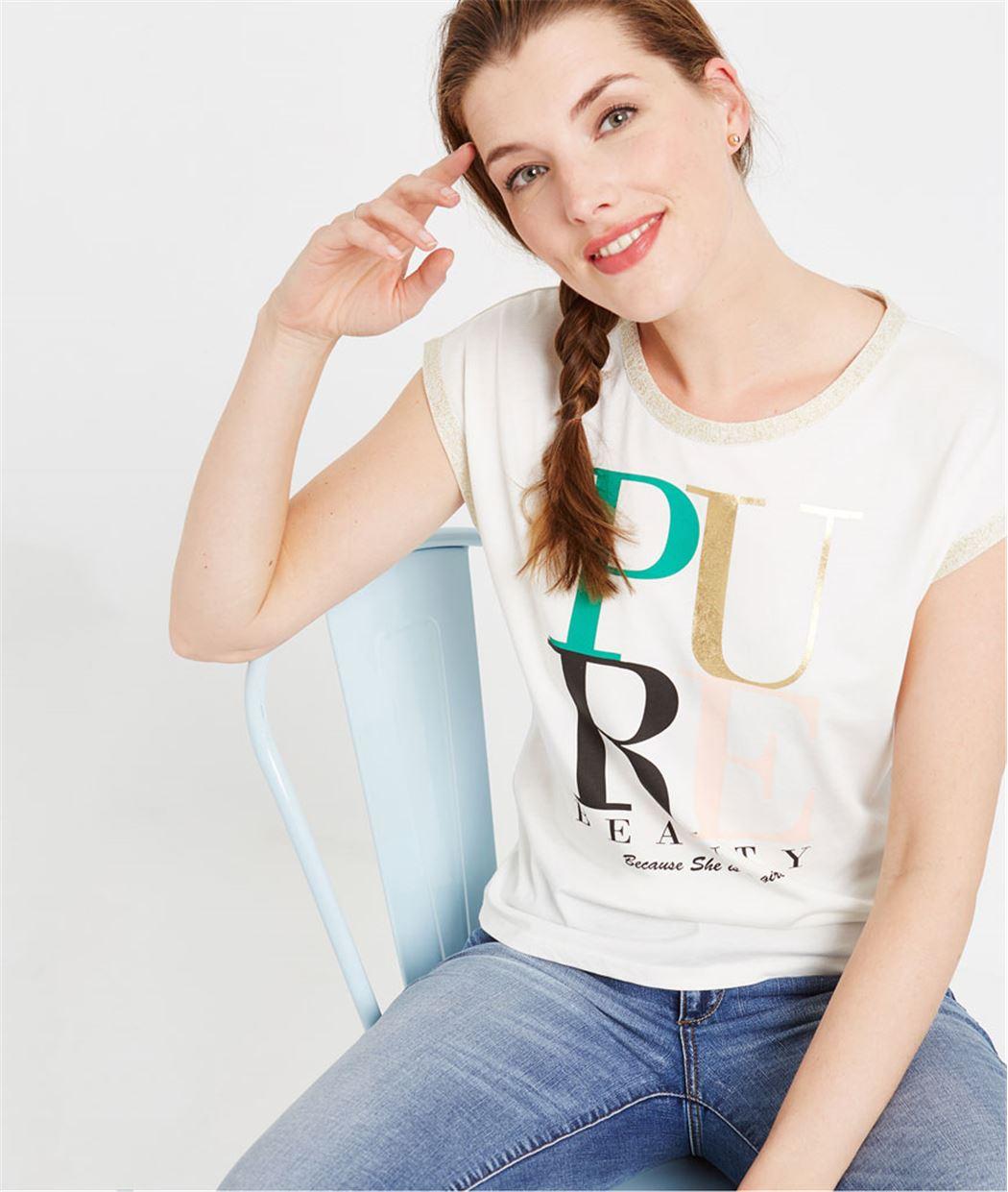 T-shirt blanc à message ECRU