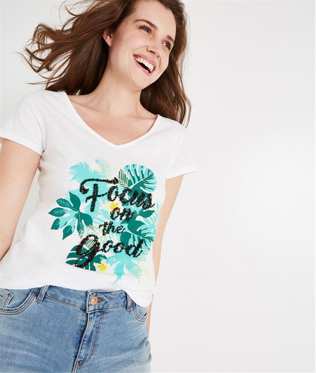 T-shirt blanc print exotique BLANC