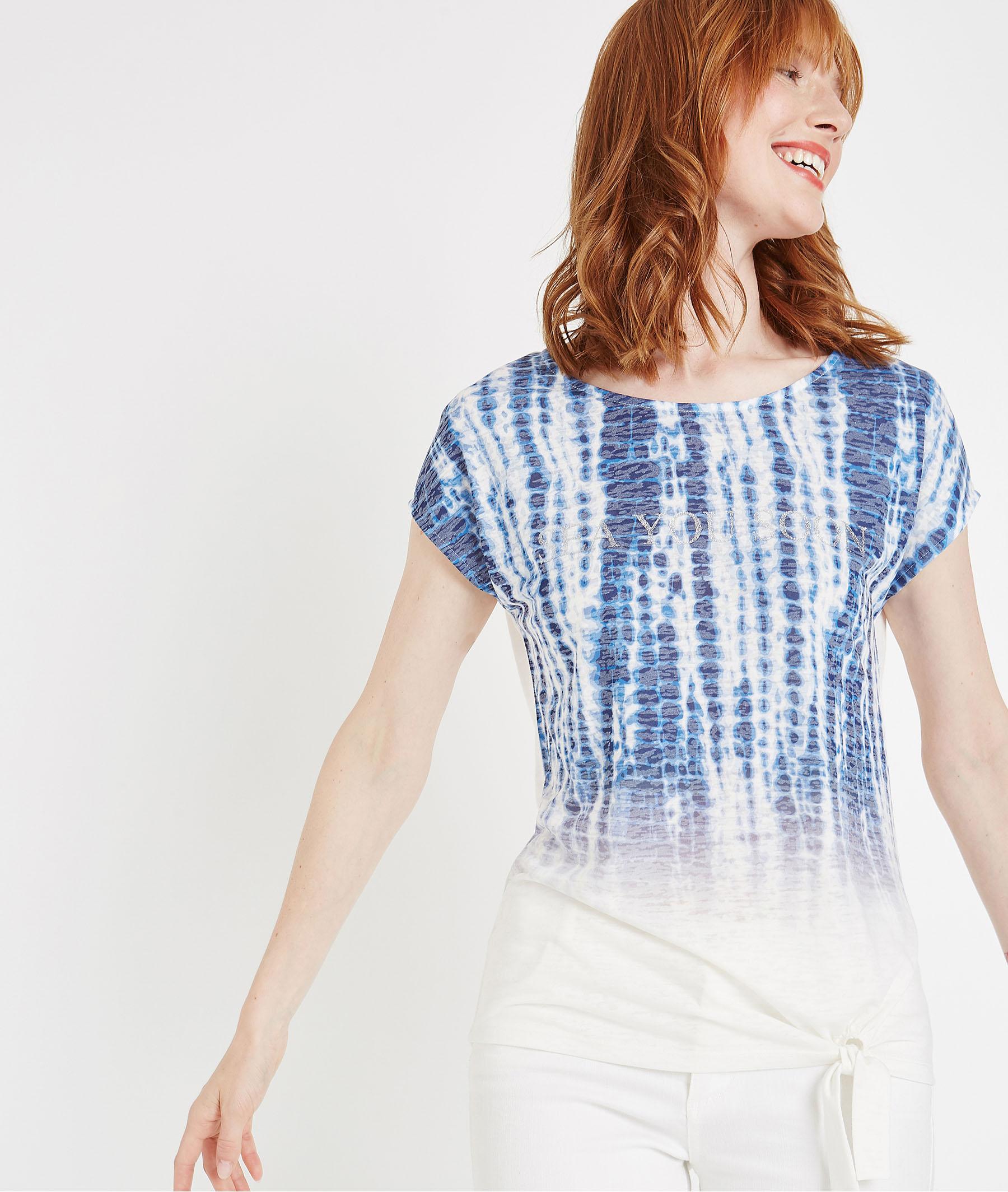 T-shirt en dégradés de bleus BLEU