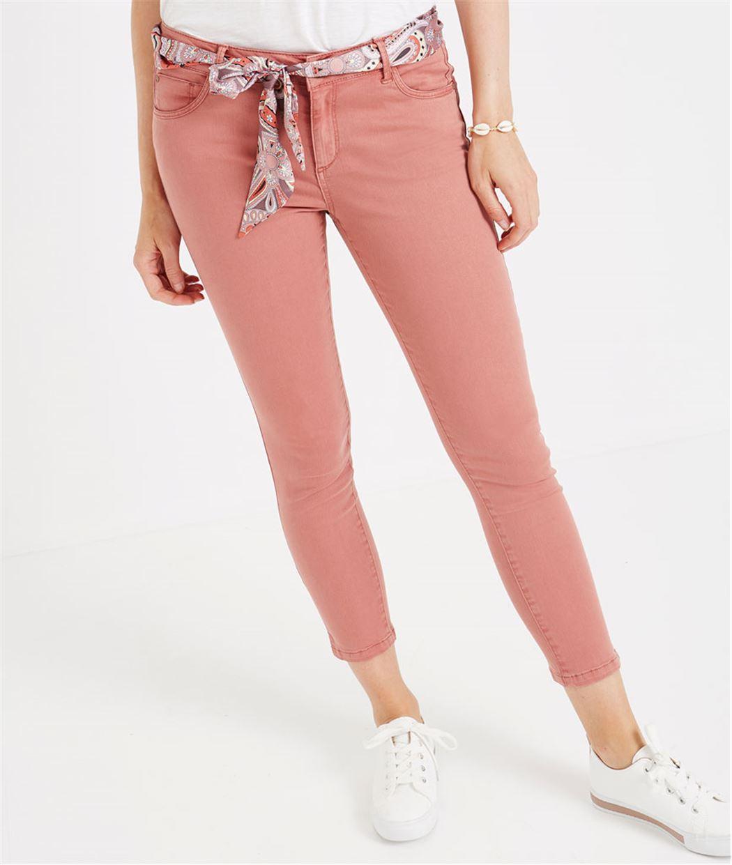 Pantalon 7/8ème de couleur avec ceinture BLUSH