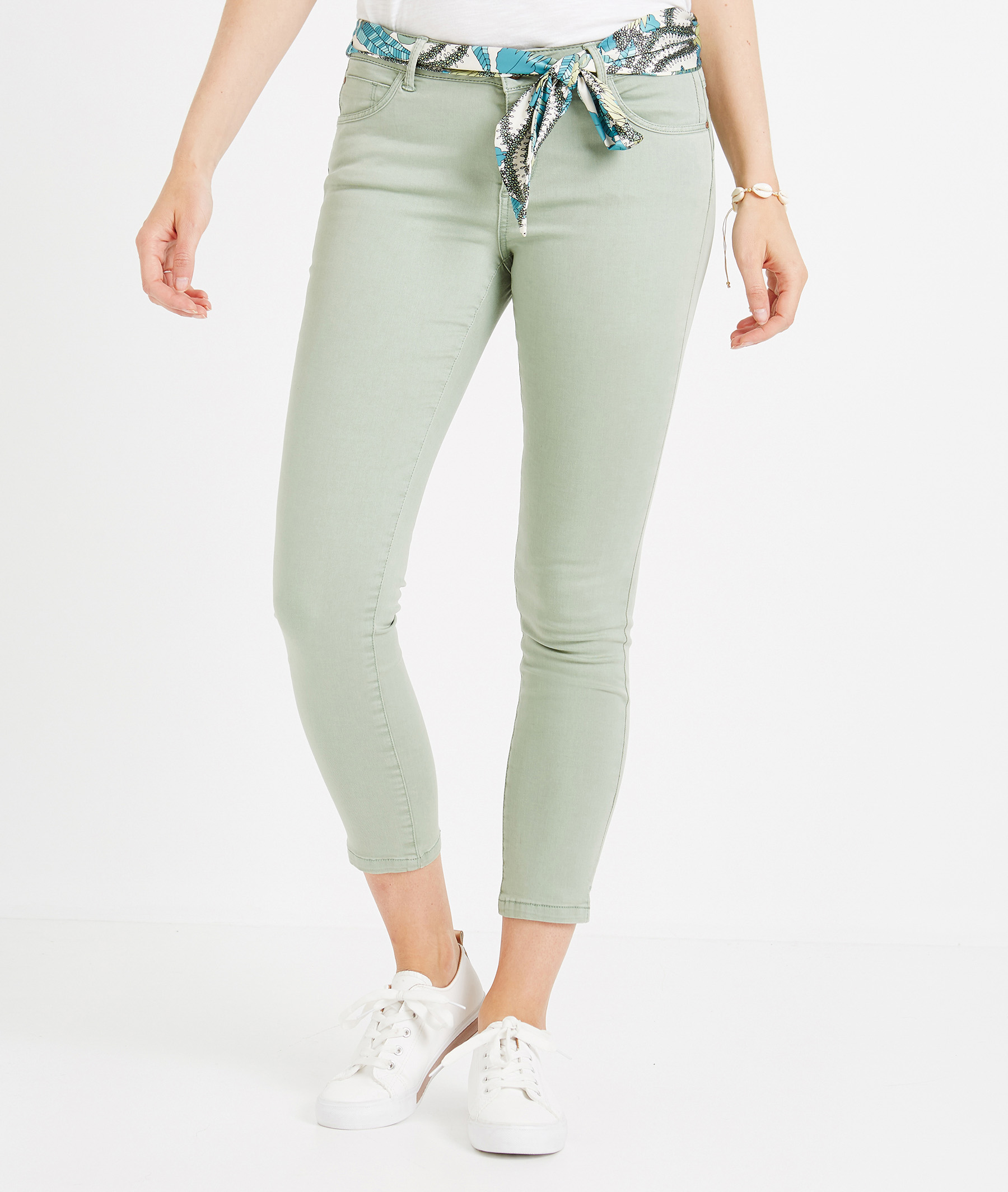Pantalon 7/8ème de couleur avec ceinture EUCALYPTUS