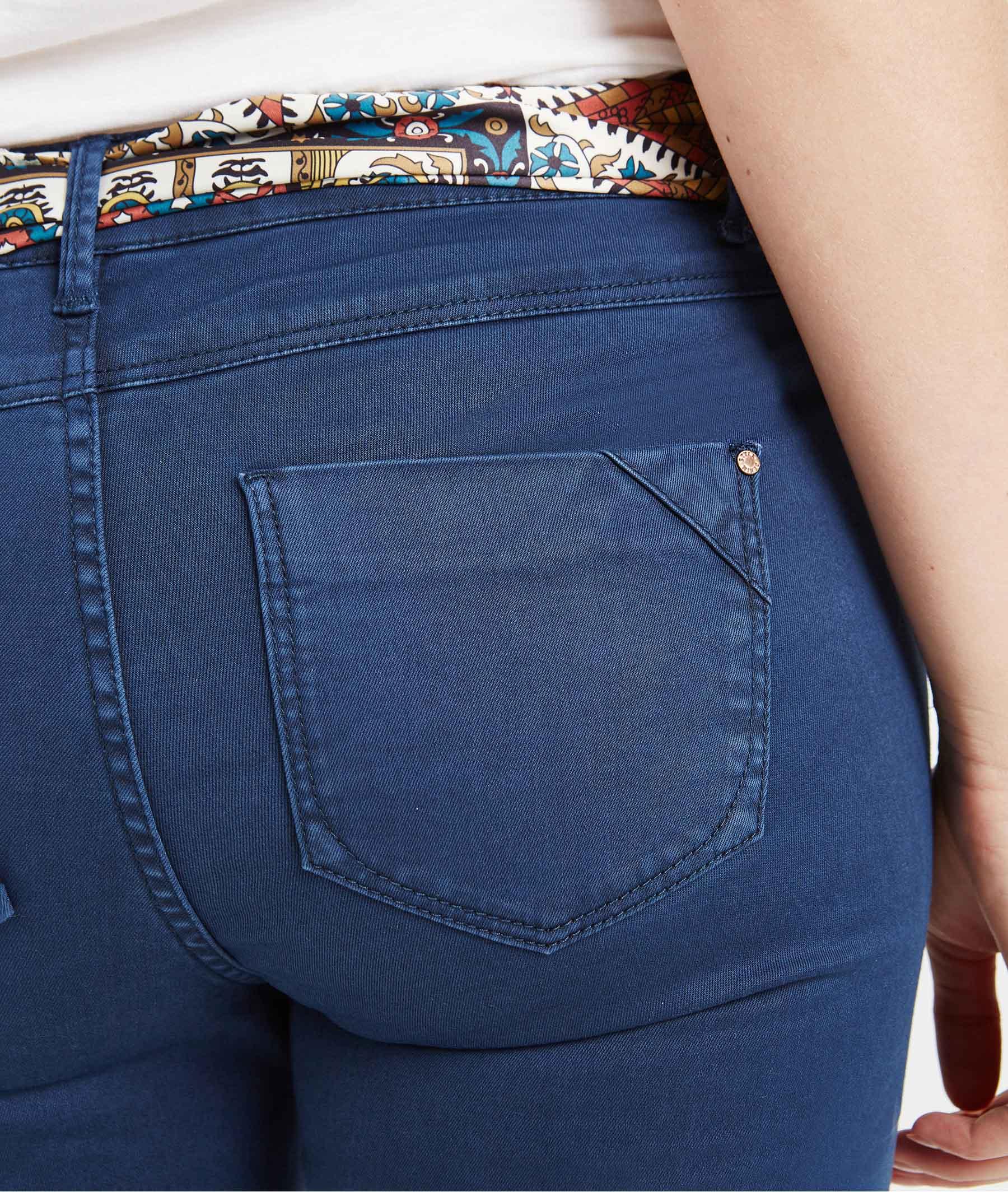 20d55da023 Pantalon 7/8ème de couleur avec ceinture PRUSSE - Grain de Malice