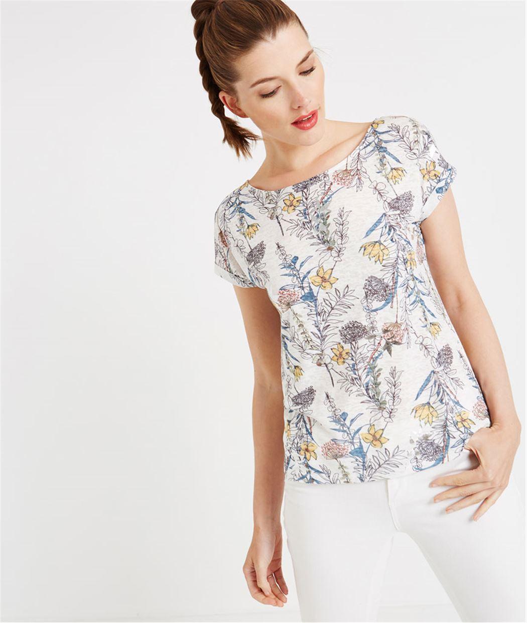 T-shirt imprimé floral BLANC