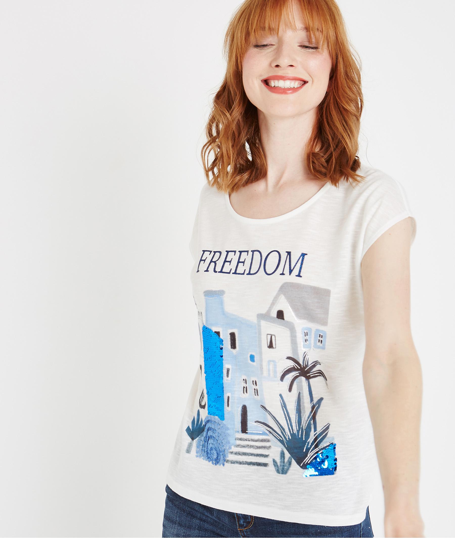 T-shirt blanc avec print placé BLANC