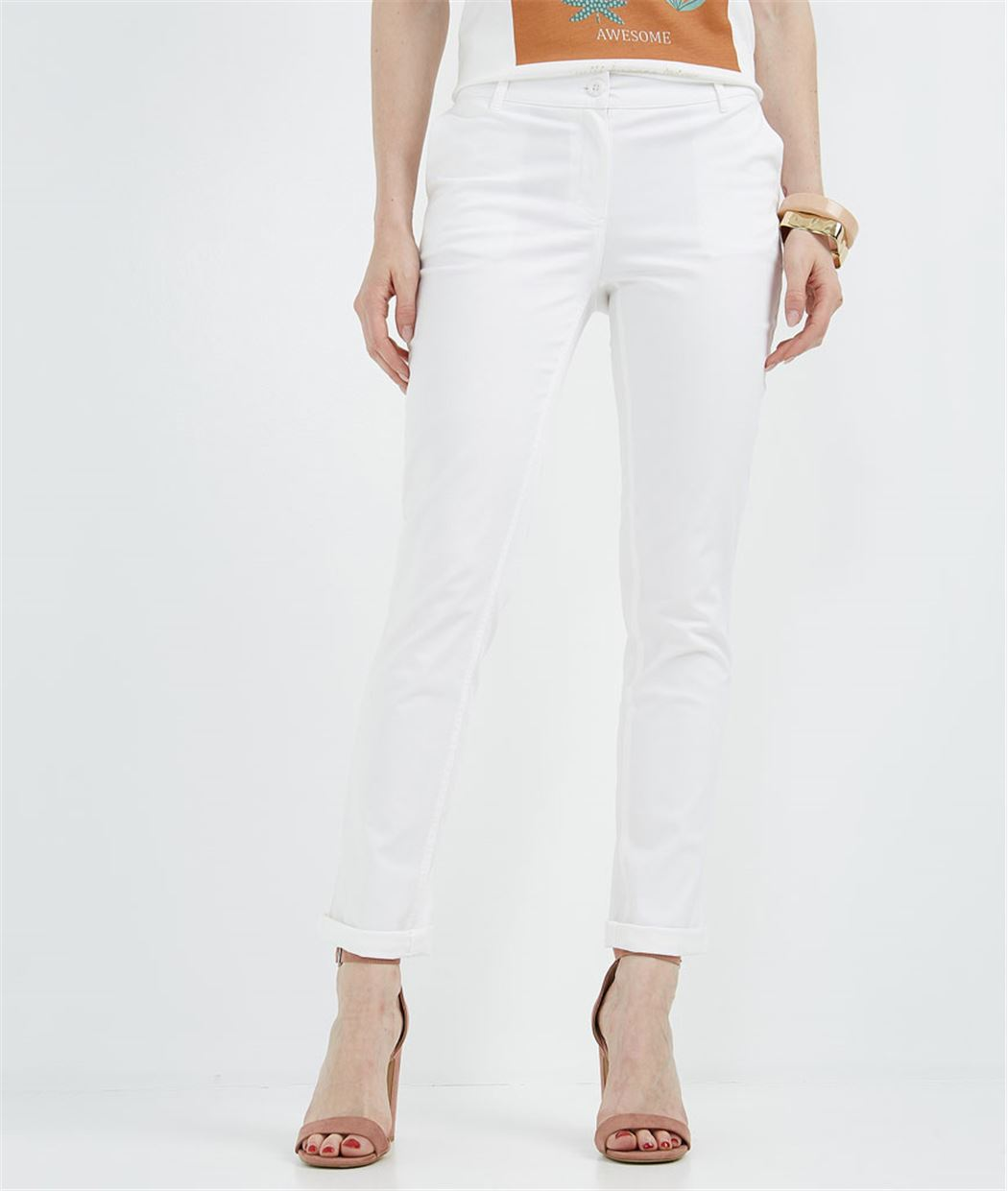 Pantalon chino city BLANC