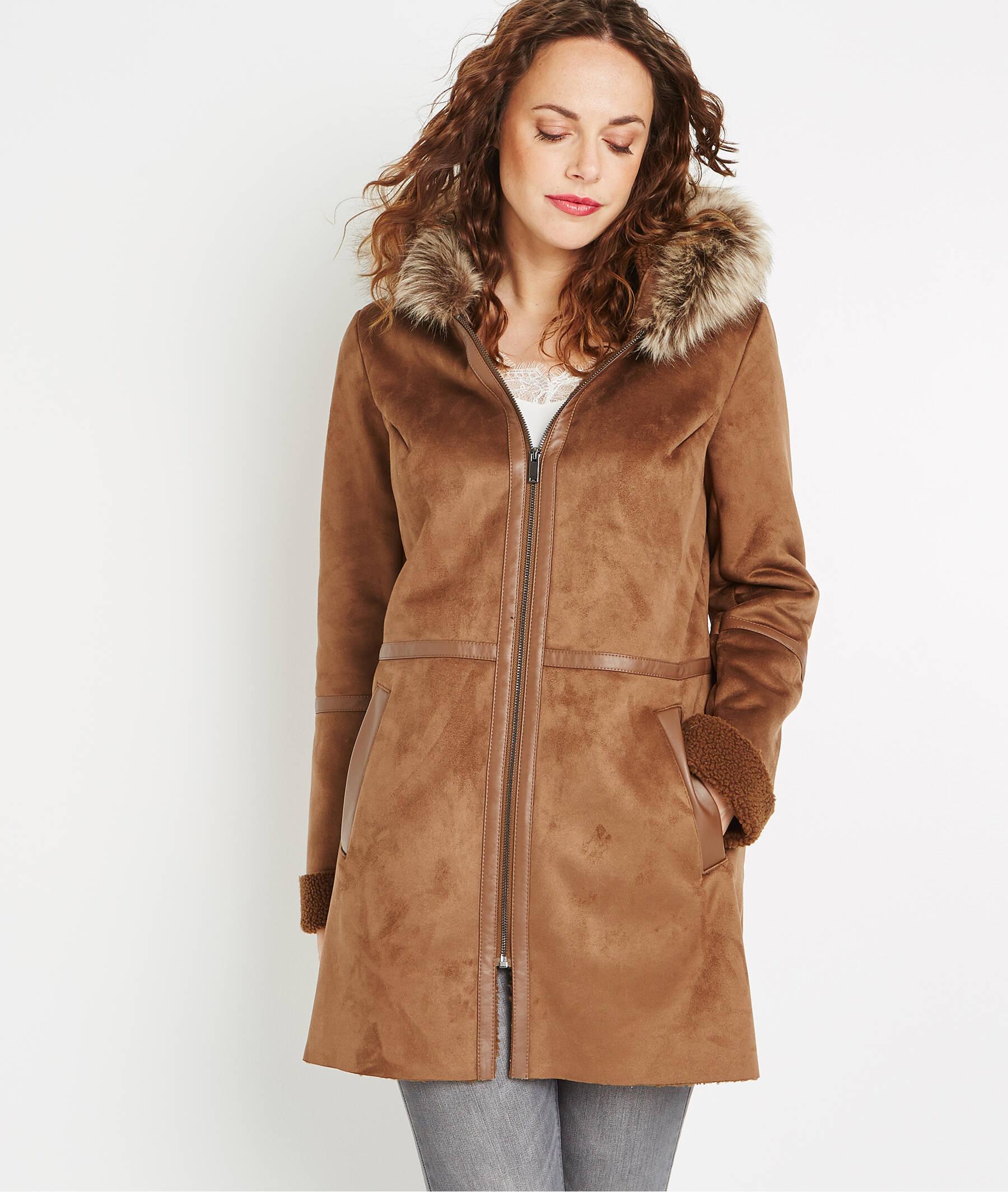 Manteau à capuche effet peau lainée MARRON
