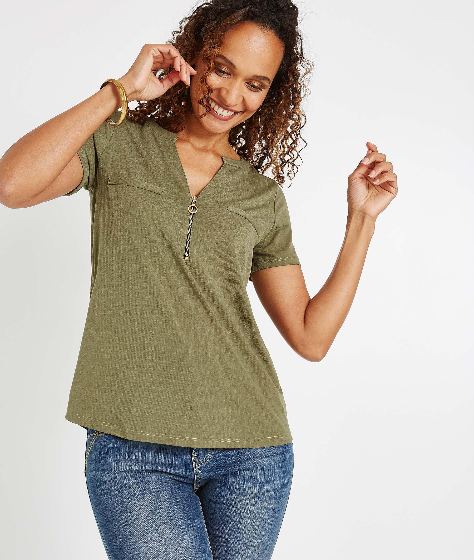 T-shirt uni avec décolleté zippé KAKI