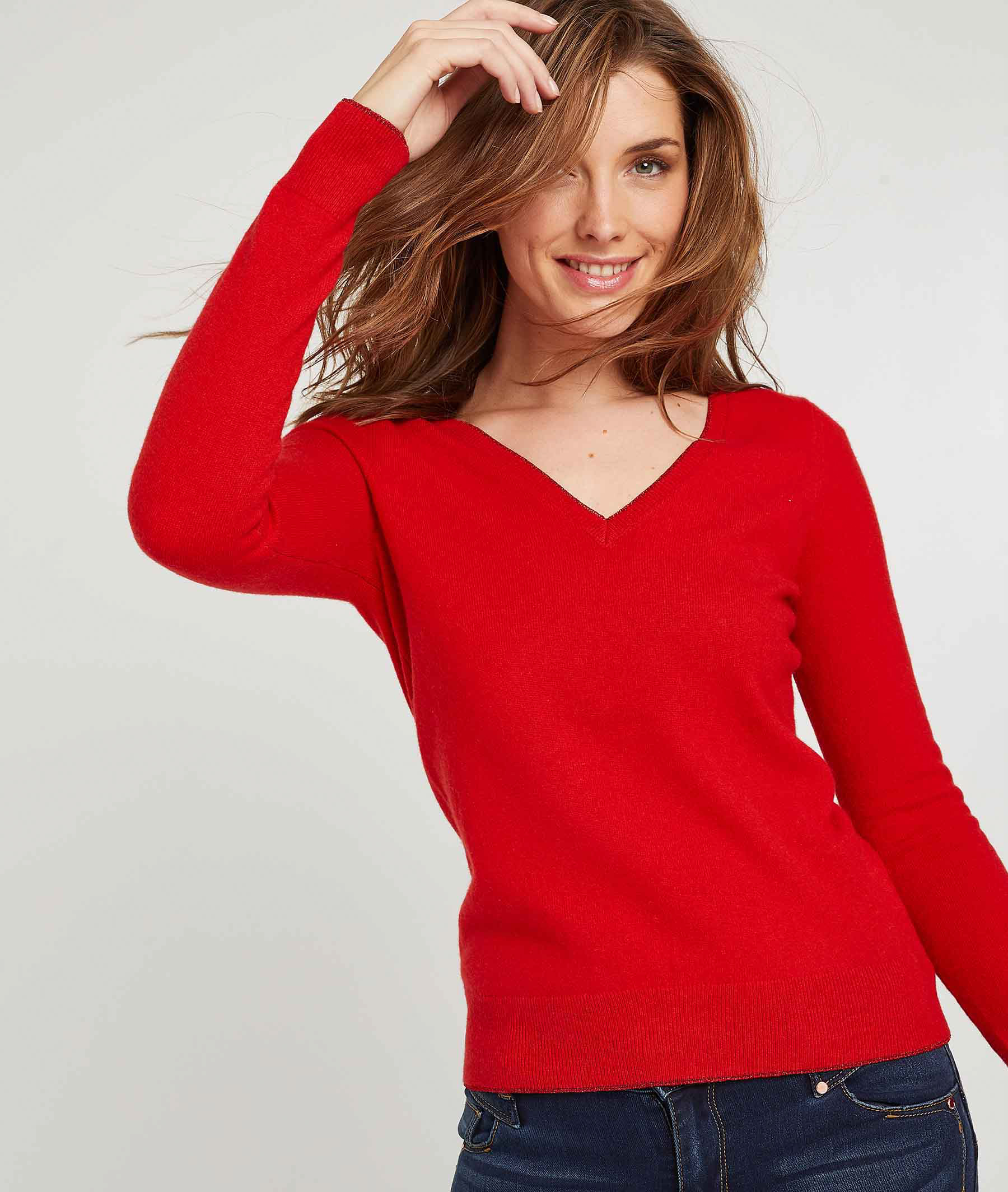 Pull cachemire femme ROUGE