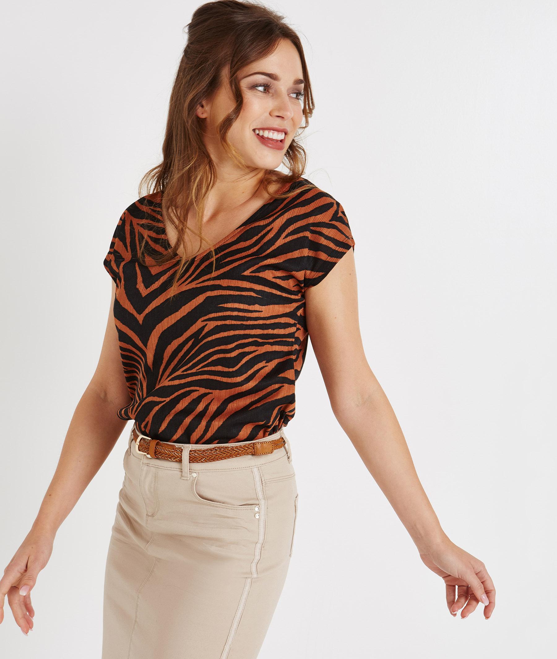 T-shirt manches courtes imprimé zèbre CARAMEL
